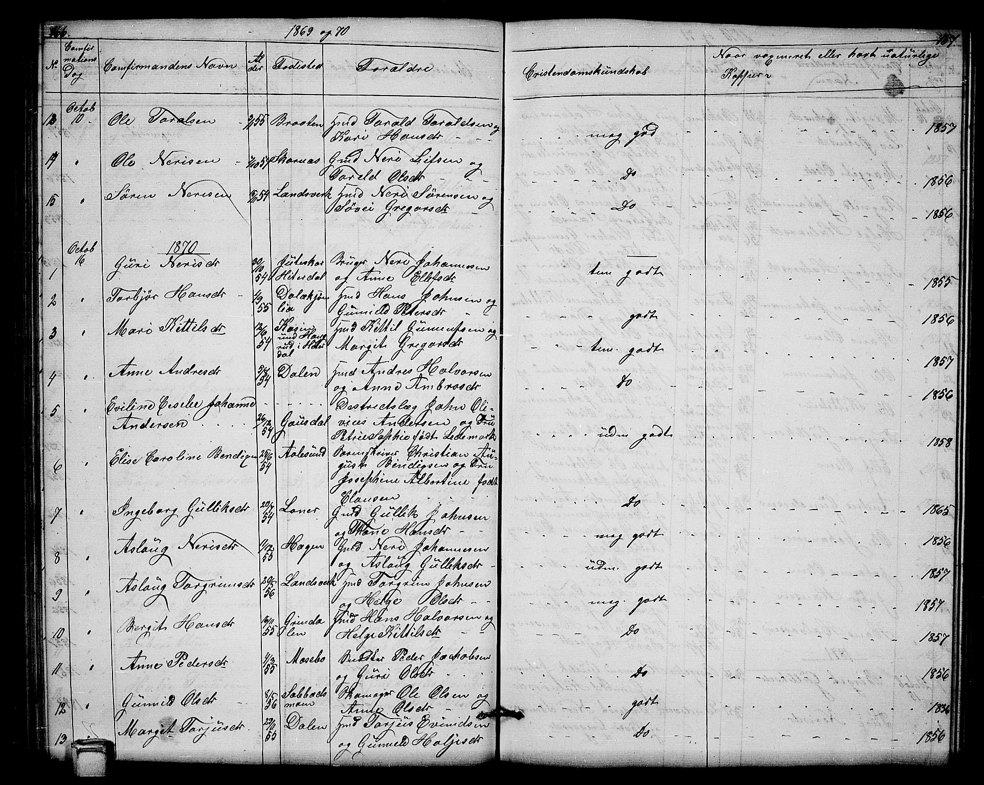 SAKO, Hjartdal kirkebøker, G/Gb/L0002: Klokkerbok nr. II 2, 1854-1884, s. 166-167