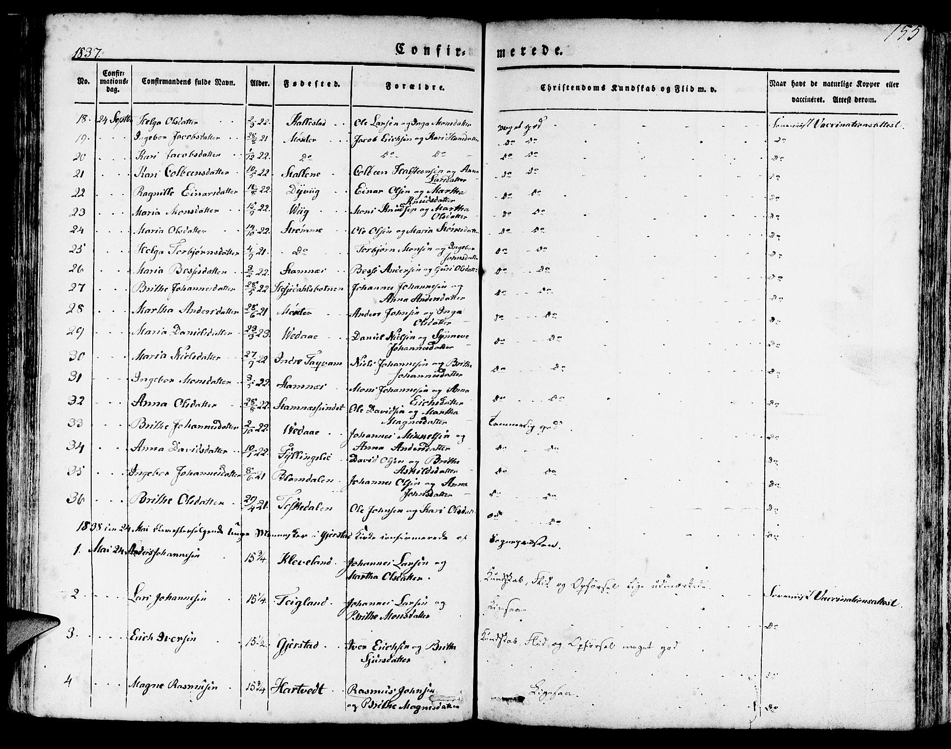 SAB, Haus Sokneprestembete, H/Haa: Ministerialbok nr. A 14, 1827-1838, s. 155