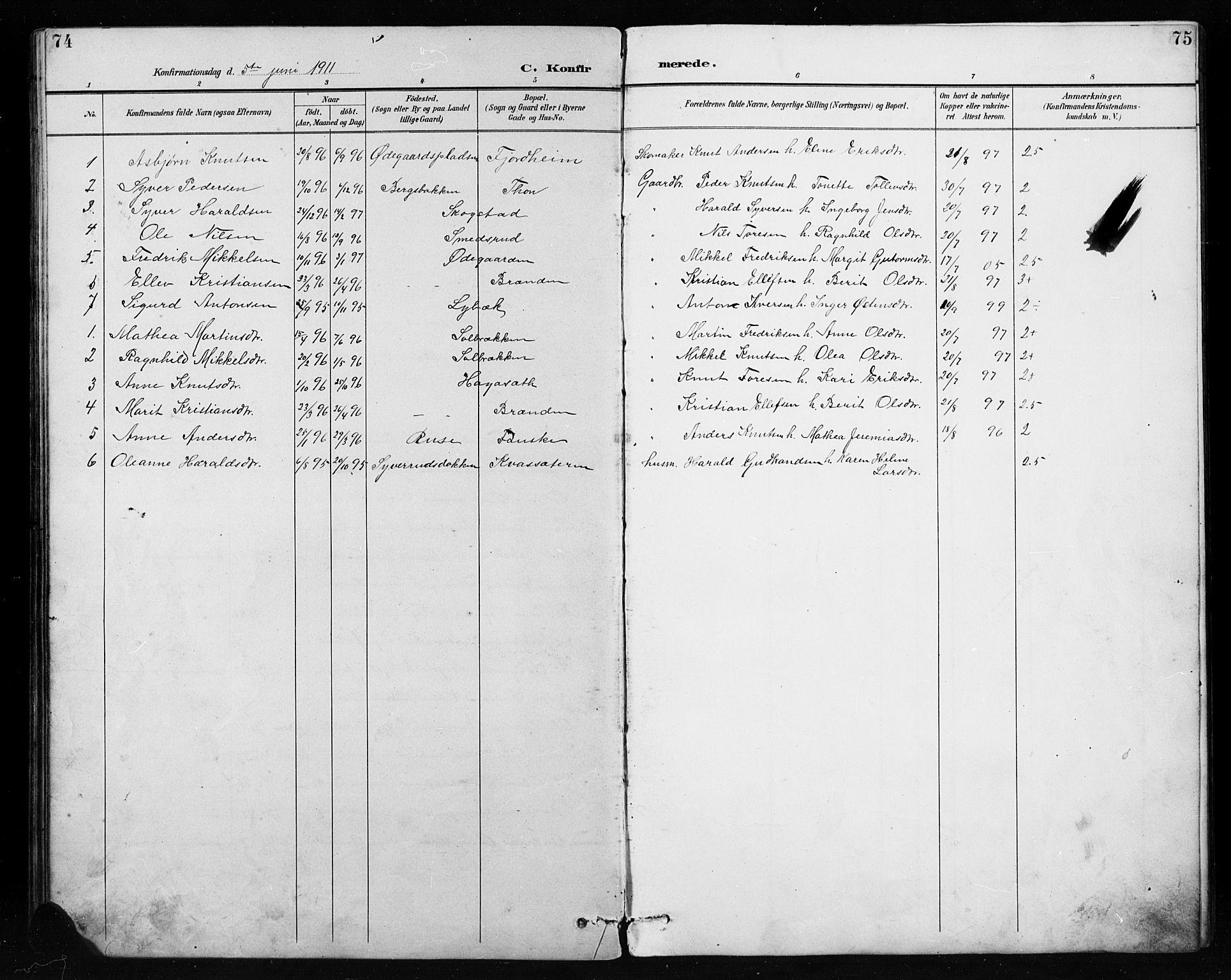 SAH, Etnedal prestekontor, H/Ha/Hab/Habb/L0001: Klokkerbok nr. II 1, 1894-1911, s. 74-75