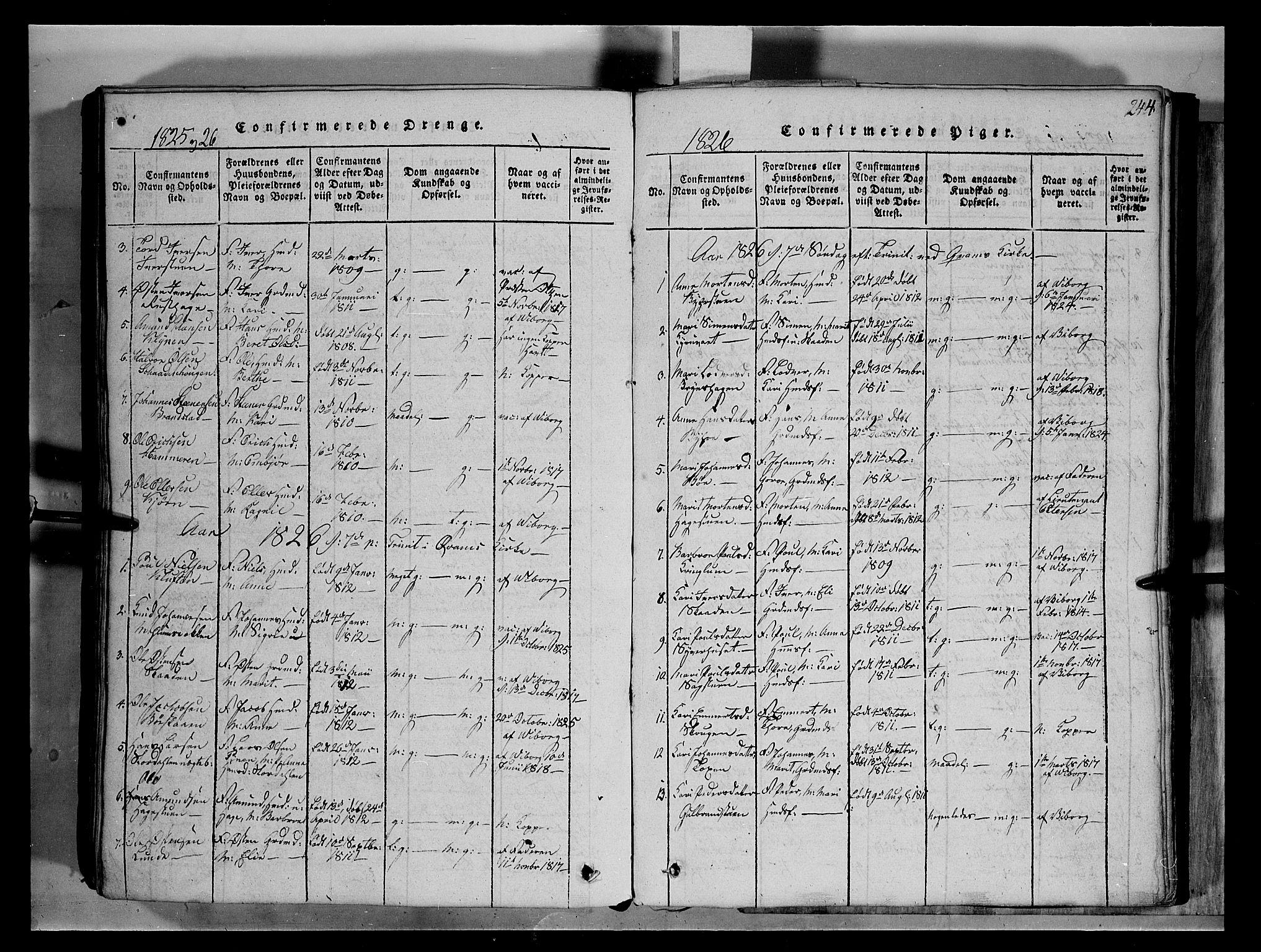 SAH, Fron prestekontor, H/Ha/Hab/L0004: Klokkerbok nr. 4, 1816-1850, s. 244