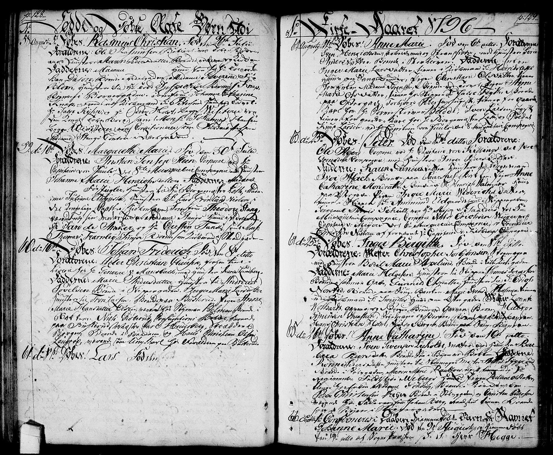 SAO, Halden prestekontor Kirkebøker, F/Fa/L0002: Ministerialbok nr. I 2, 1792-1812, s. 128-129