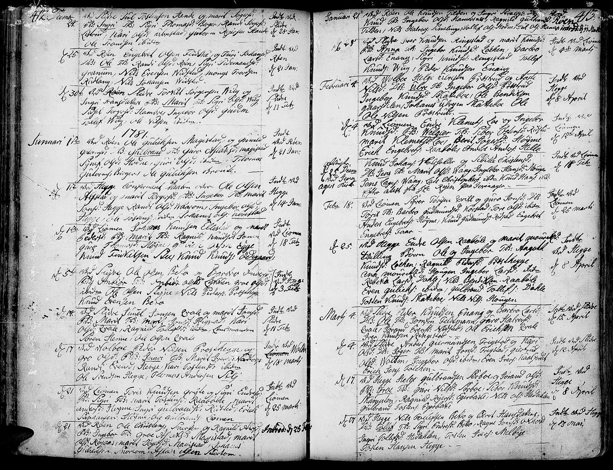 SAH, Slidre prestekontor, Ministerialbok nr. 1, 1724-1814, s. 412-413