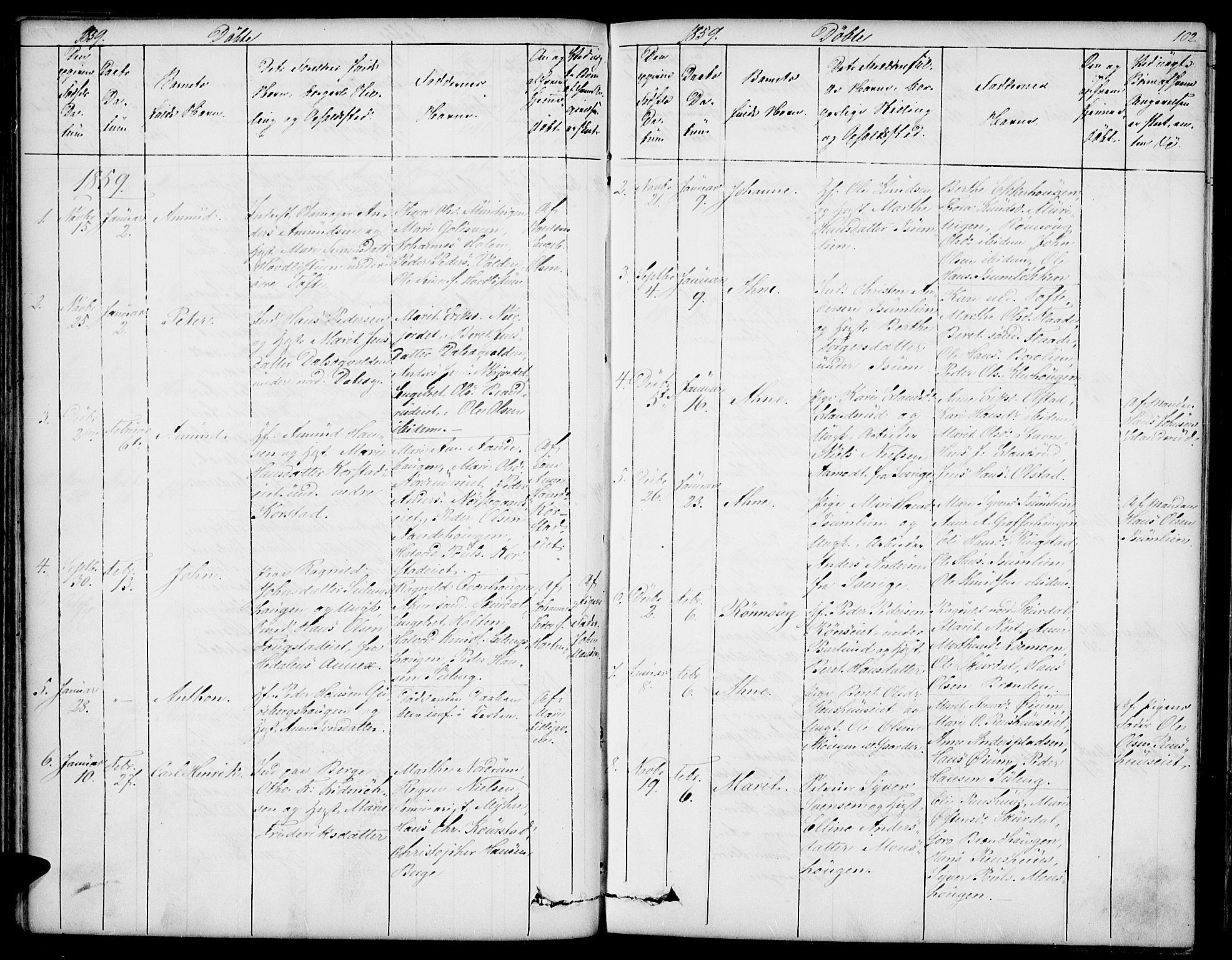 SAH, Sør-Fron prestekontor, H/Ha/Hab/L0001: Klokkerbok nr. 1, 1844-1863, s. 102