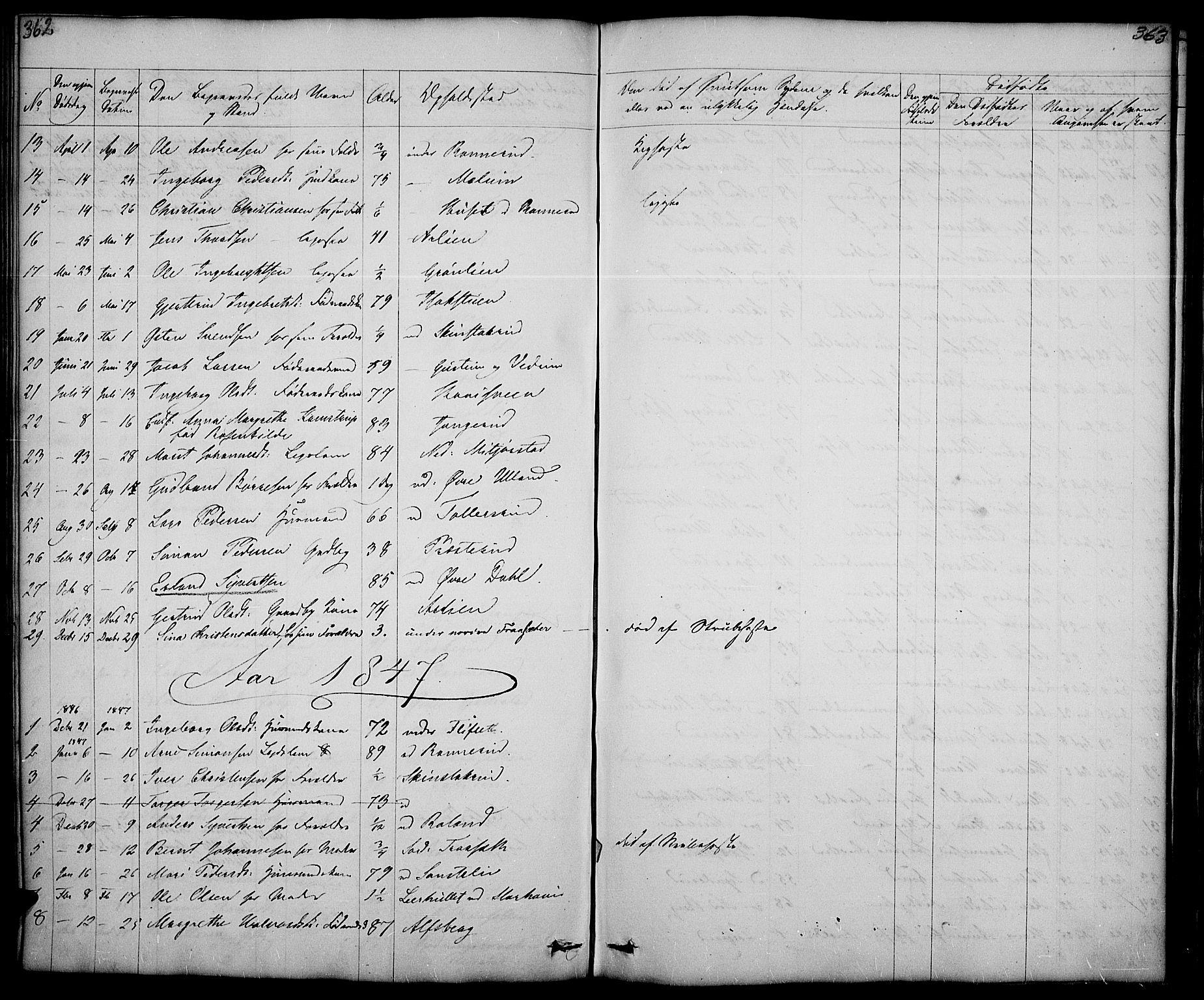 SAH, Fåberg prestekontor, Klokkerbok nr. 5, 1837-1864, s. 362-363