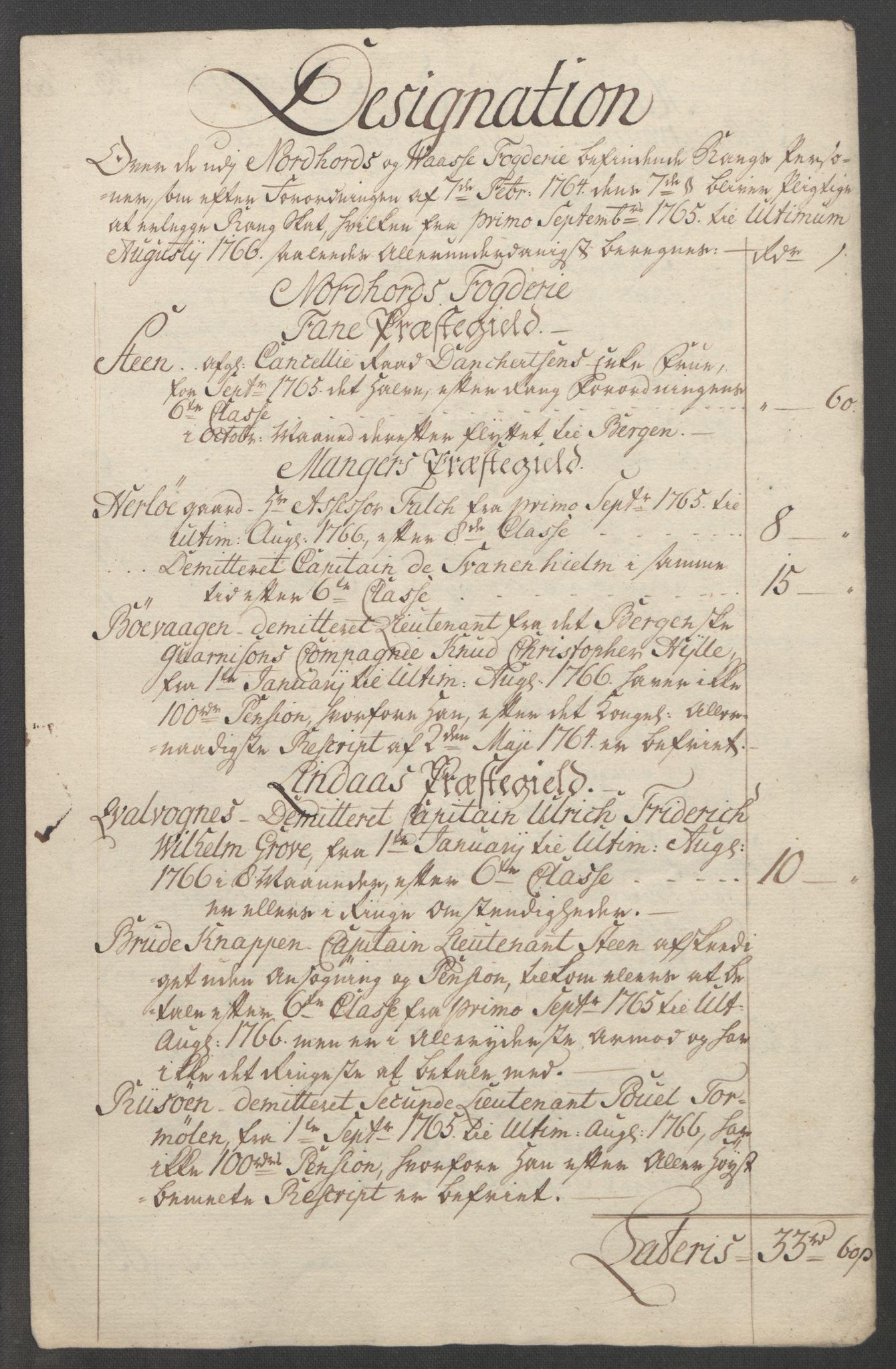 RA, Rentekammeret inntil 1814, Reviderte regnskaper, Fogderegnskap, R51/L3303: Ekstraskatten Nordhordland og Voss, 1762-1772, s. 122