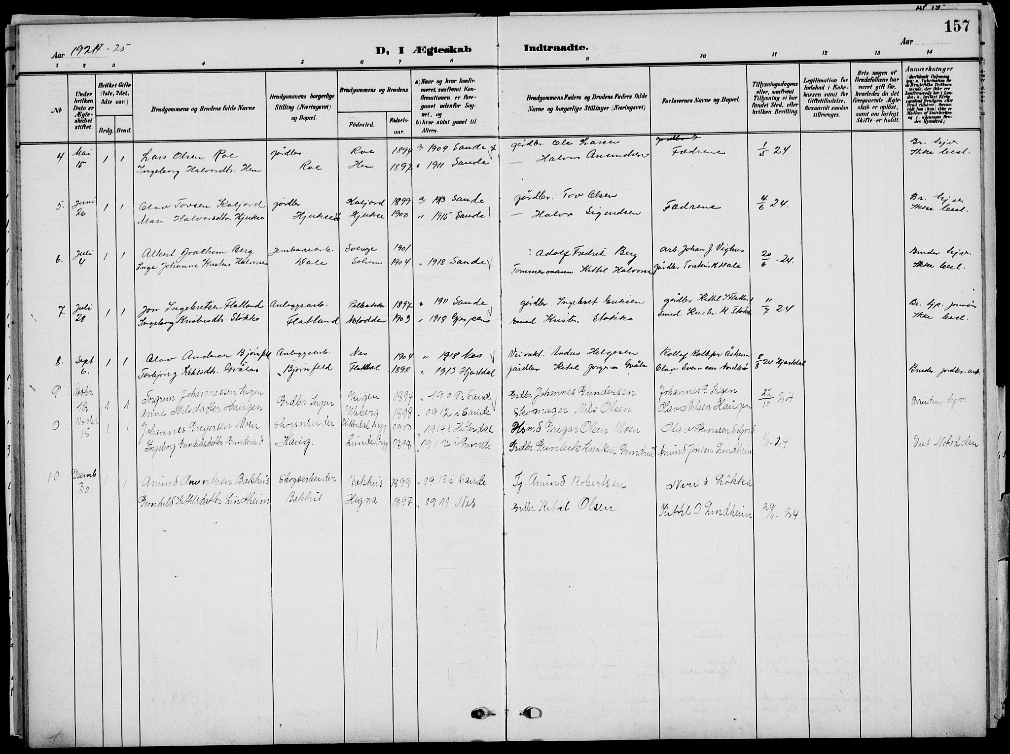 SAKO, Sauherad kirkebøker, G/Ga/L0004a: Klokkerbok nr. I 4, 1906-1934, s. 157