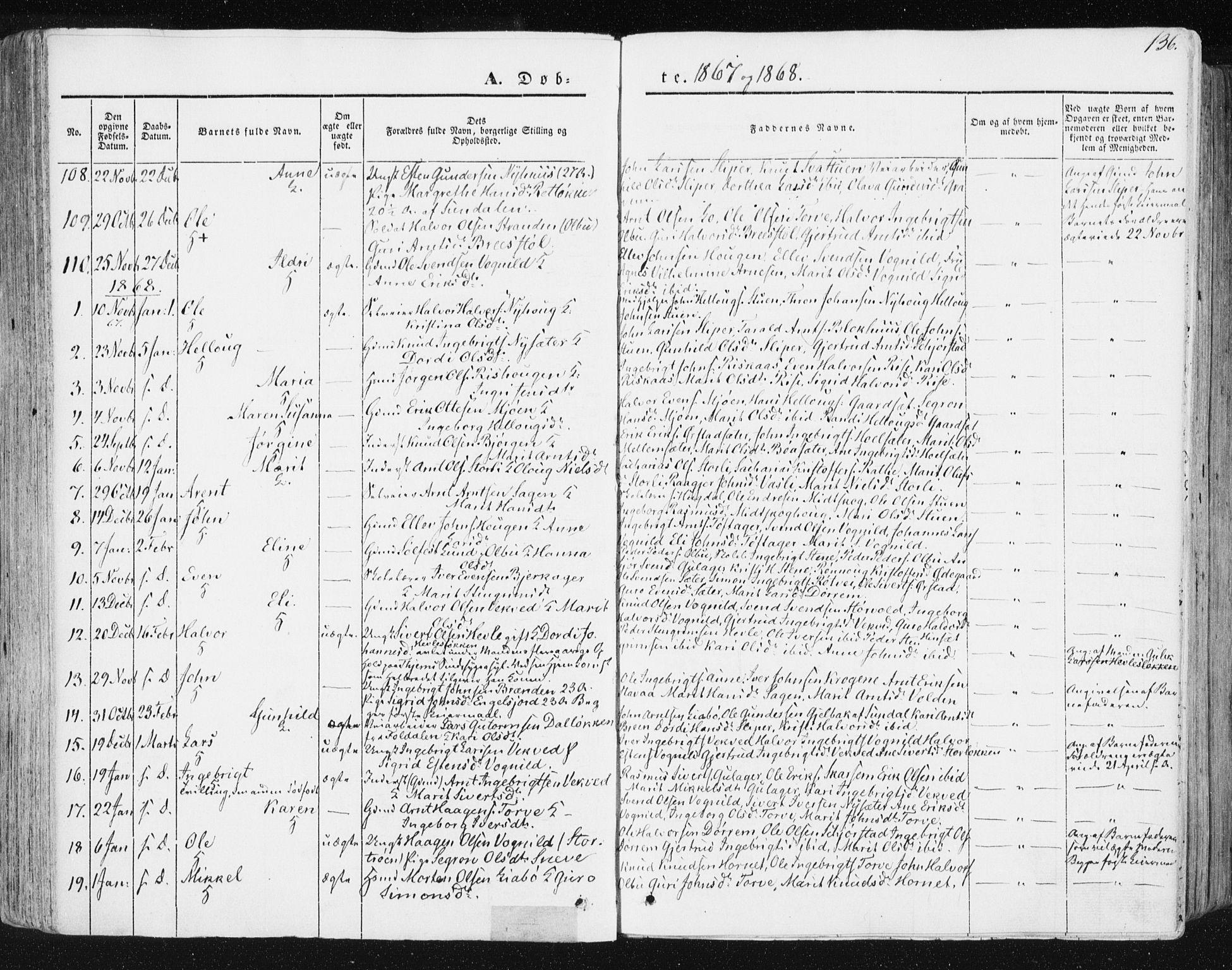 SAT, Ministerialprotokoller, klokkerbøker og fødselsregistre - Sør-Trøndelag, 678/L0899: Ministerialbok nr. 678A08, 1848-1872, s. 136