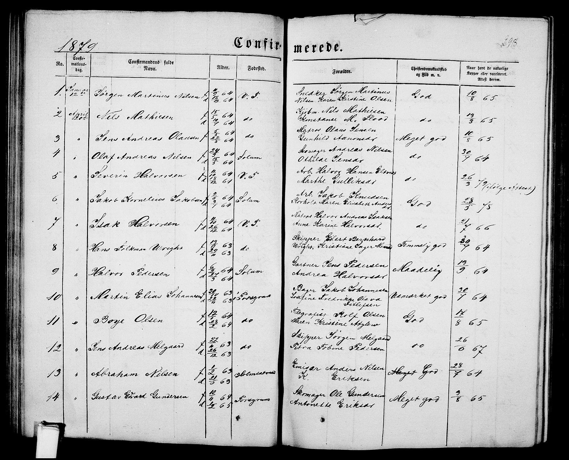 SAKO, Porsgrunn kirkebøker , G/Gb/L0004: Klokkerbok nr. II 4, 1853-1882, s. 298