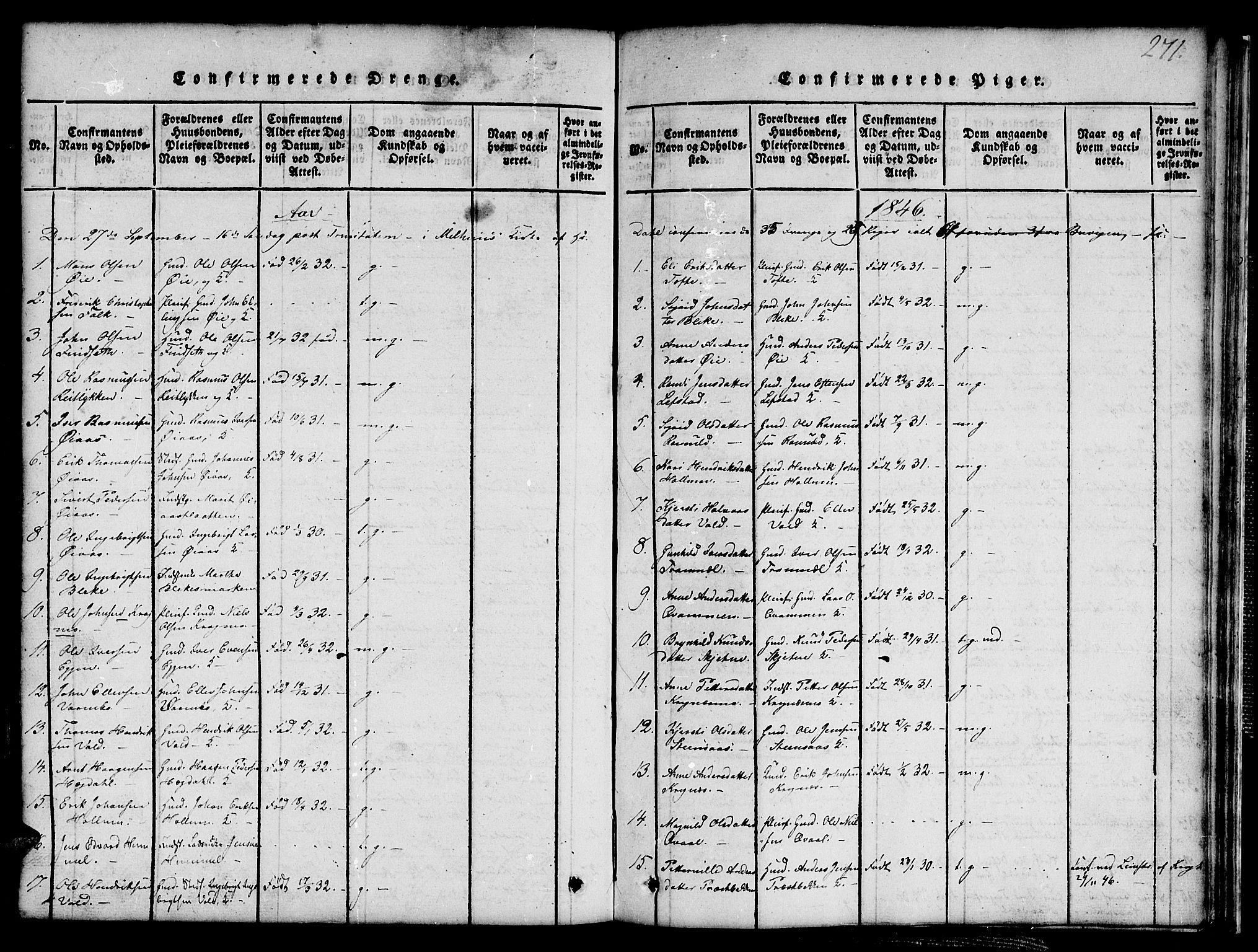 SAT, Ministerialprotokoller, klokkerbøker og fødselsregistre - Sør-Trøndelag, 691/L1092: Klokkerbok nr. 691C03, 1816-1852, s. 271