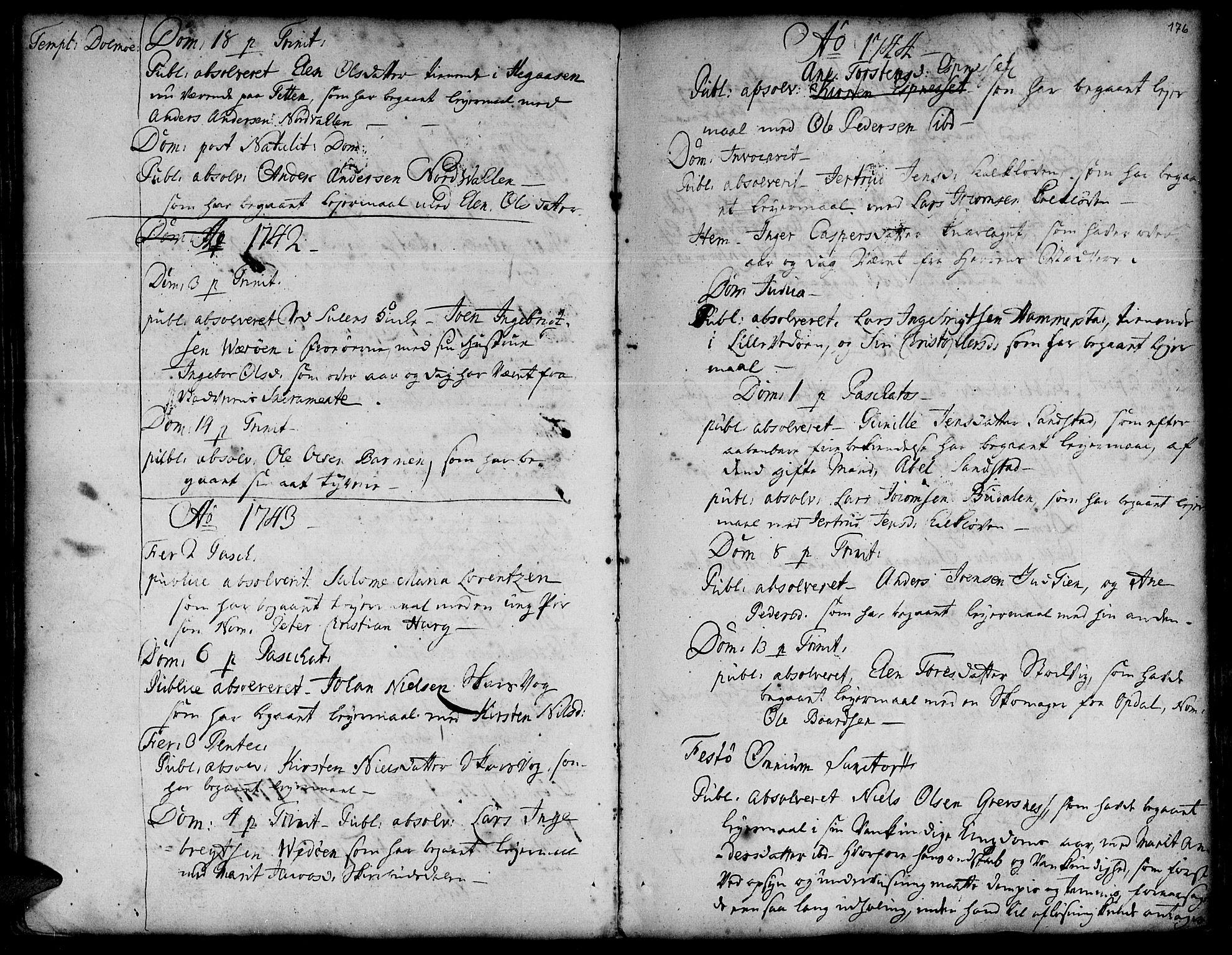 SAT, Ministerialprotokoller, klokkerbøker og fødselsregistre - Sør-Trøndelag, 634/L0525: Ministerialbok nr. 634A01, 1736-1775, s. 176