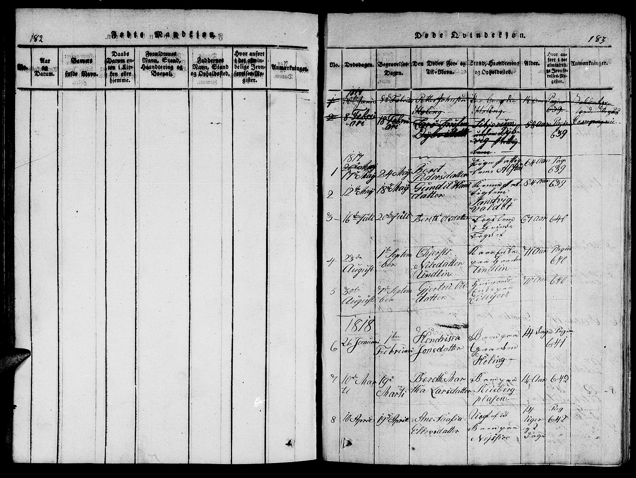 SAT, Ministerialprotokoller, klokkerbøker og fødselsregistre - Nord-Trøndelag, 714/L0132: Klokkerbok nr. 714C01, 1817-1824, s. 182-183