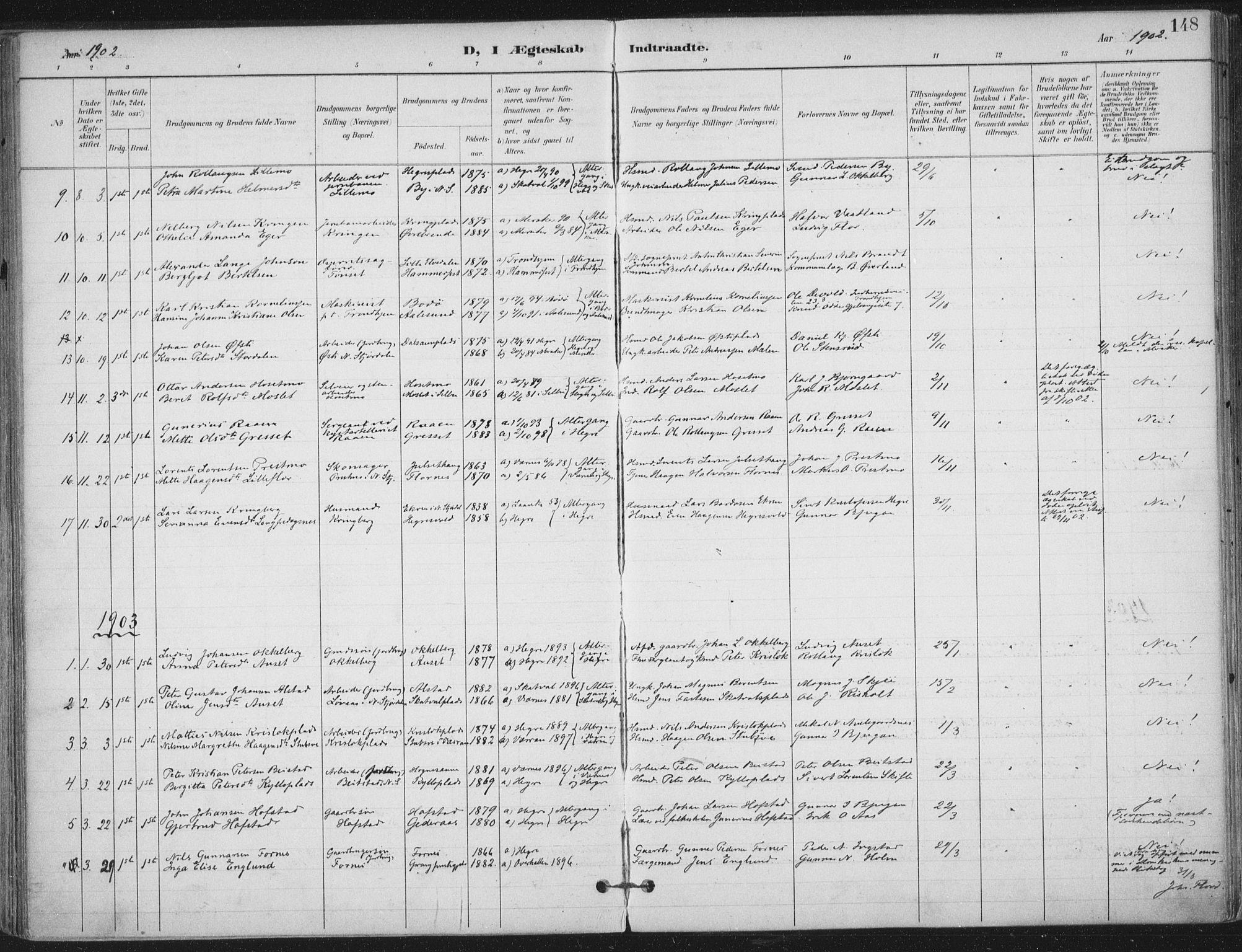 SAT, Ministerialprotokoller, klokkerbøker og fødselsregistre - Nord-Trøndelag, 703/L0031: Ministerialbok nr. 703A04, 1893-1914, s. 148