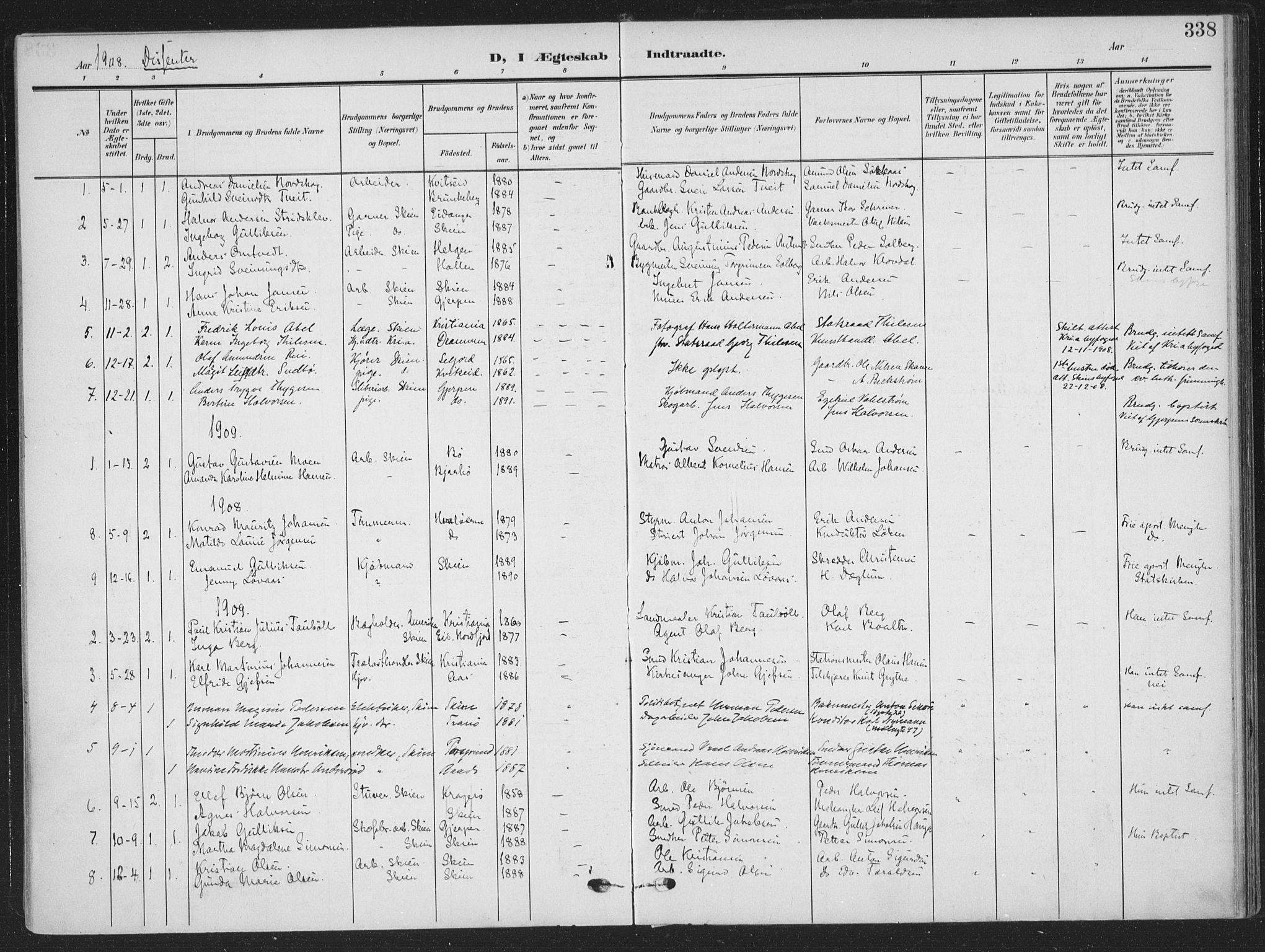 SAKO, Skien kirkebøker, F/Fa/L0012: Ministerialbok nr. 12, 1908-1914, s. 338