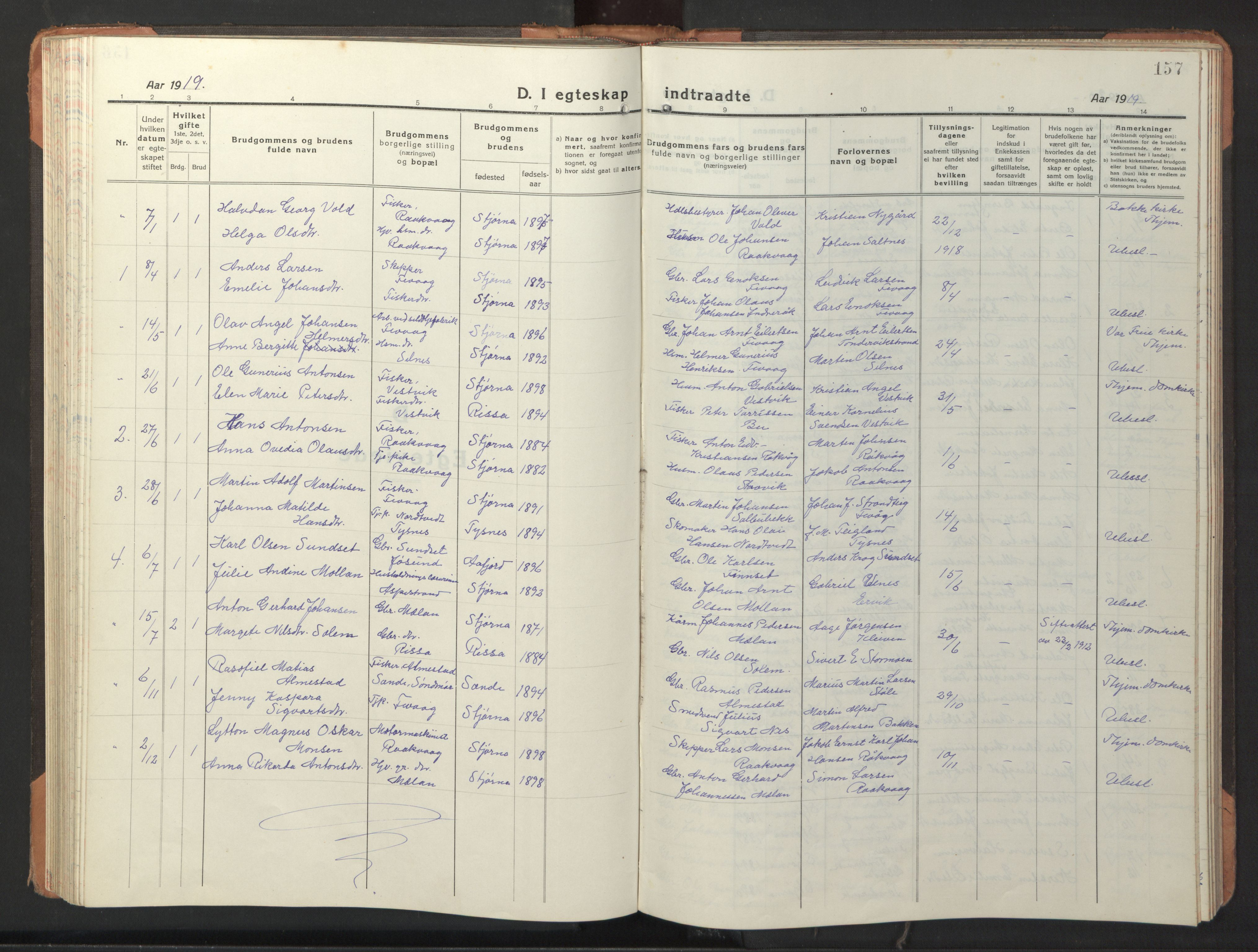 SAT, Ministerialprotokoller, klokkerbøker og fødselsregistre - Sør-Trøndelag, 653/L0658: Klokkerbok nr. 653C02, 1919-1947, s. 157