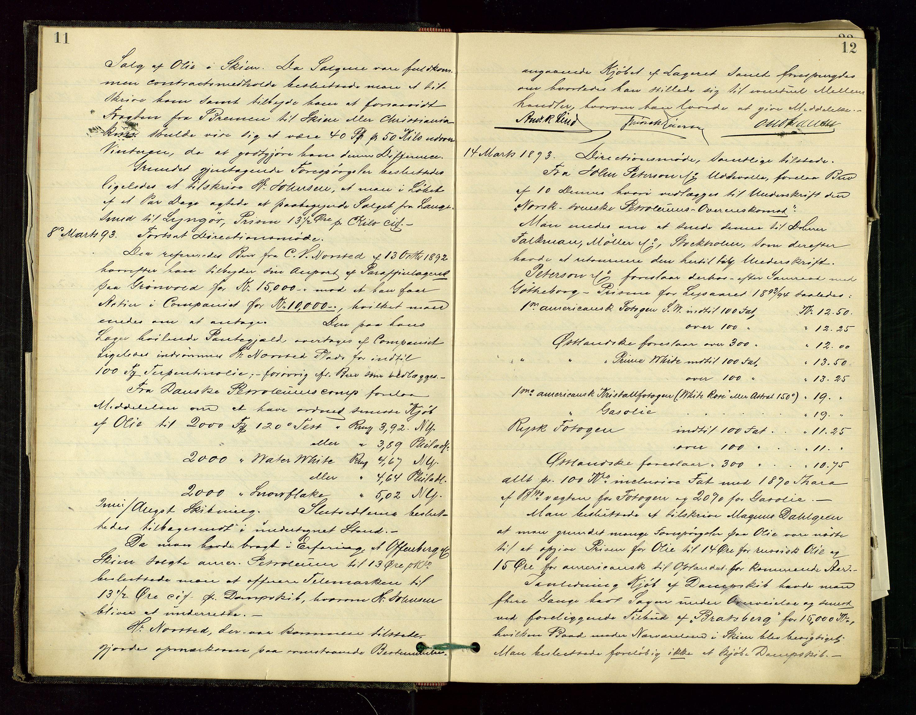SAST, PA 1534 - Østlandske Petroleumscompagni A/S, A/Aa/L0001: Generalforsamlinger og direksjonsprotokoller., 1892-1905, s. 11-12
