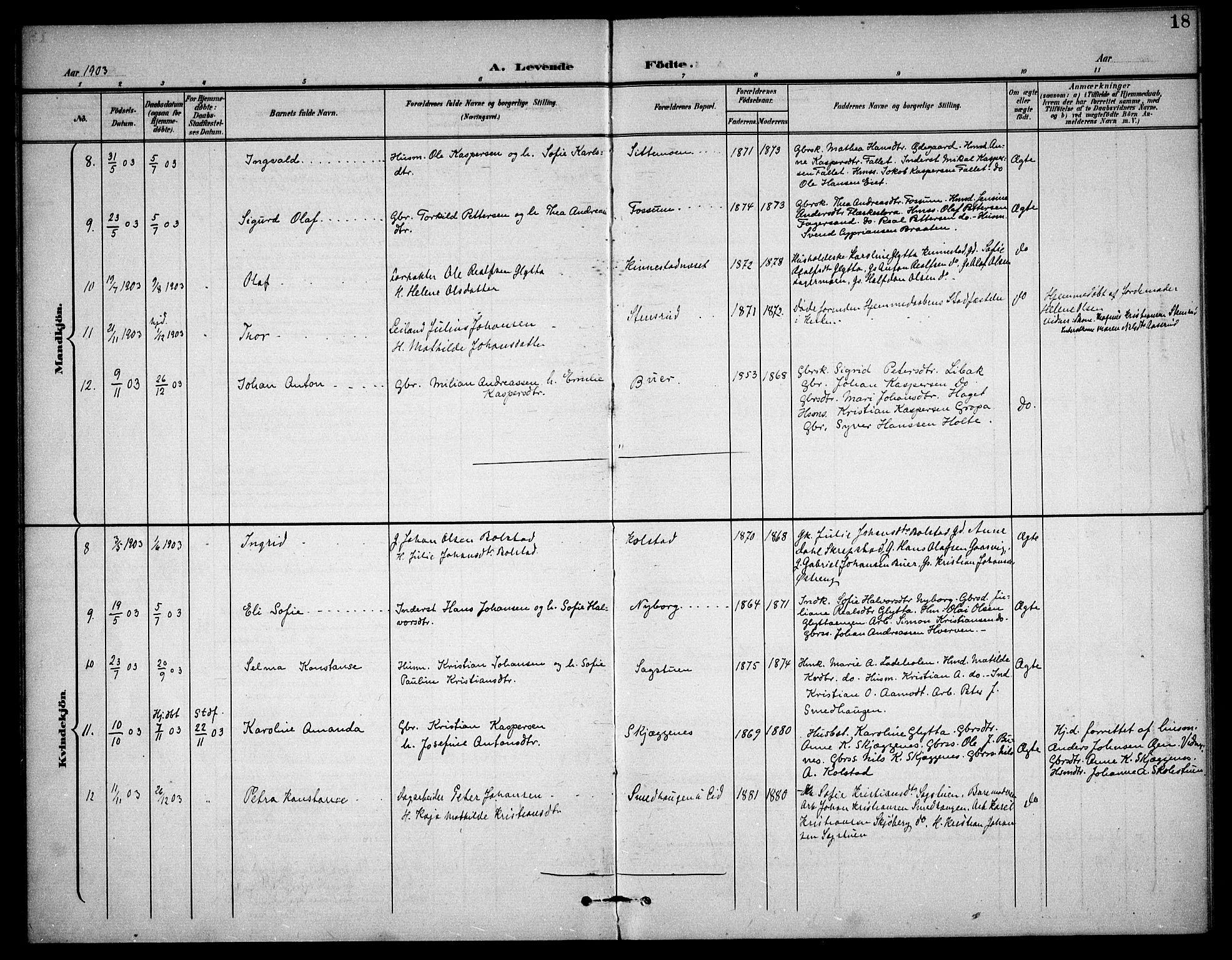 SAO, Høland prestekontor Kirkebøker, F/Fc/L0003: Ministerialbok nr. III 3, 1897-1911, s. 18
