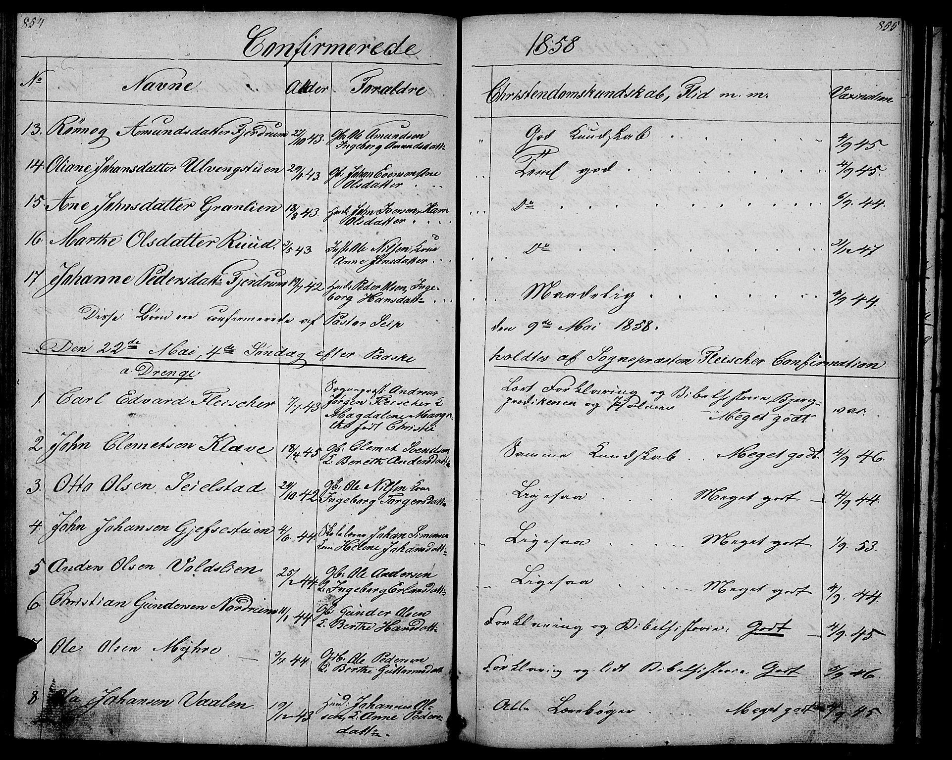 SAH, Gausdal prestekontor, Klokkerbok nr. 4, 1835-1870, s. 854-855
