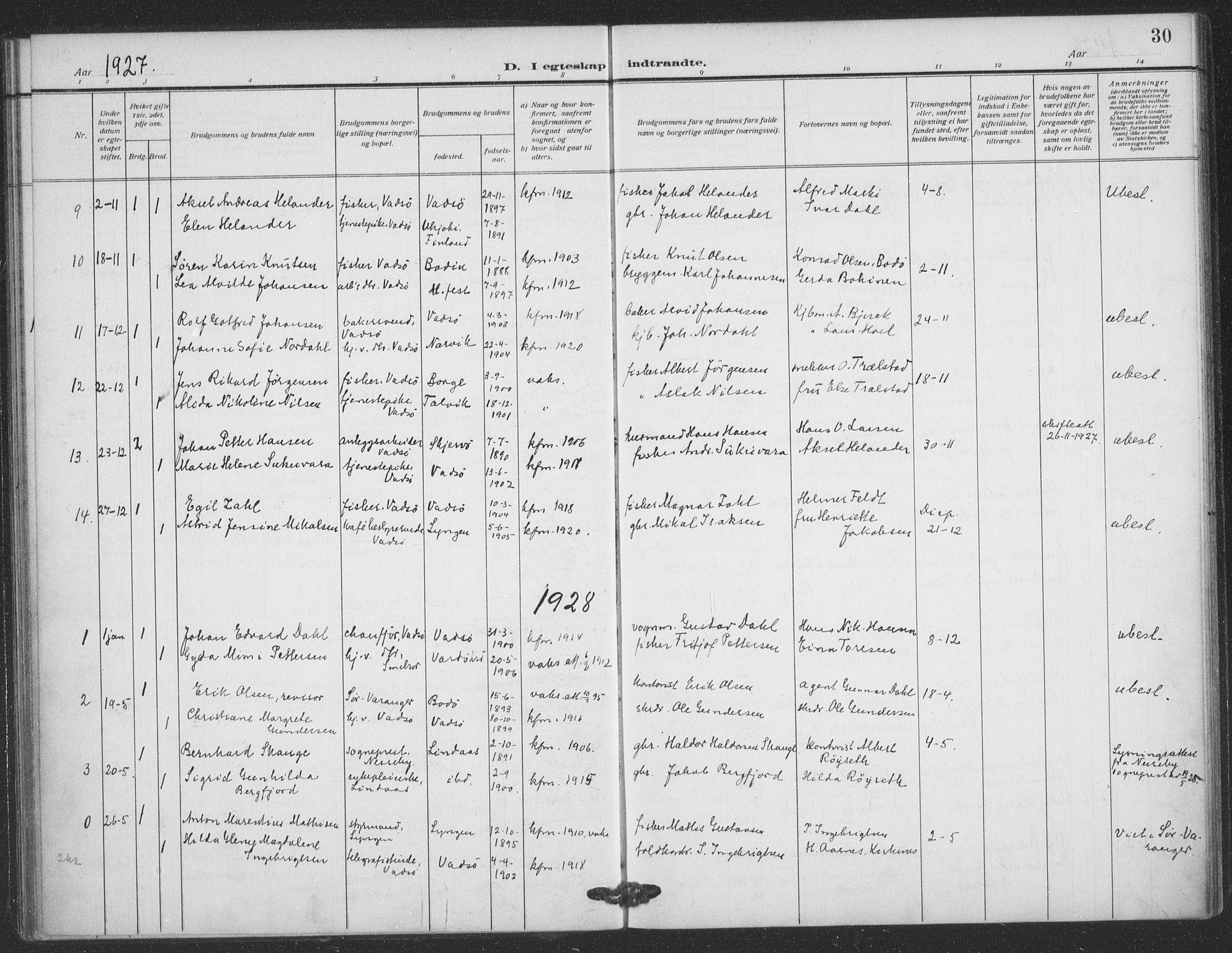 SATØ, Vadsø sokneprestkontor, H/Ha/L0008kirke: Ministerialbok nr. 8, 1912-1930, s. 30