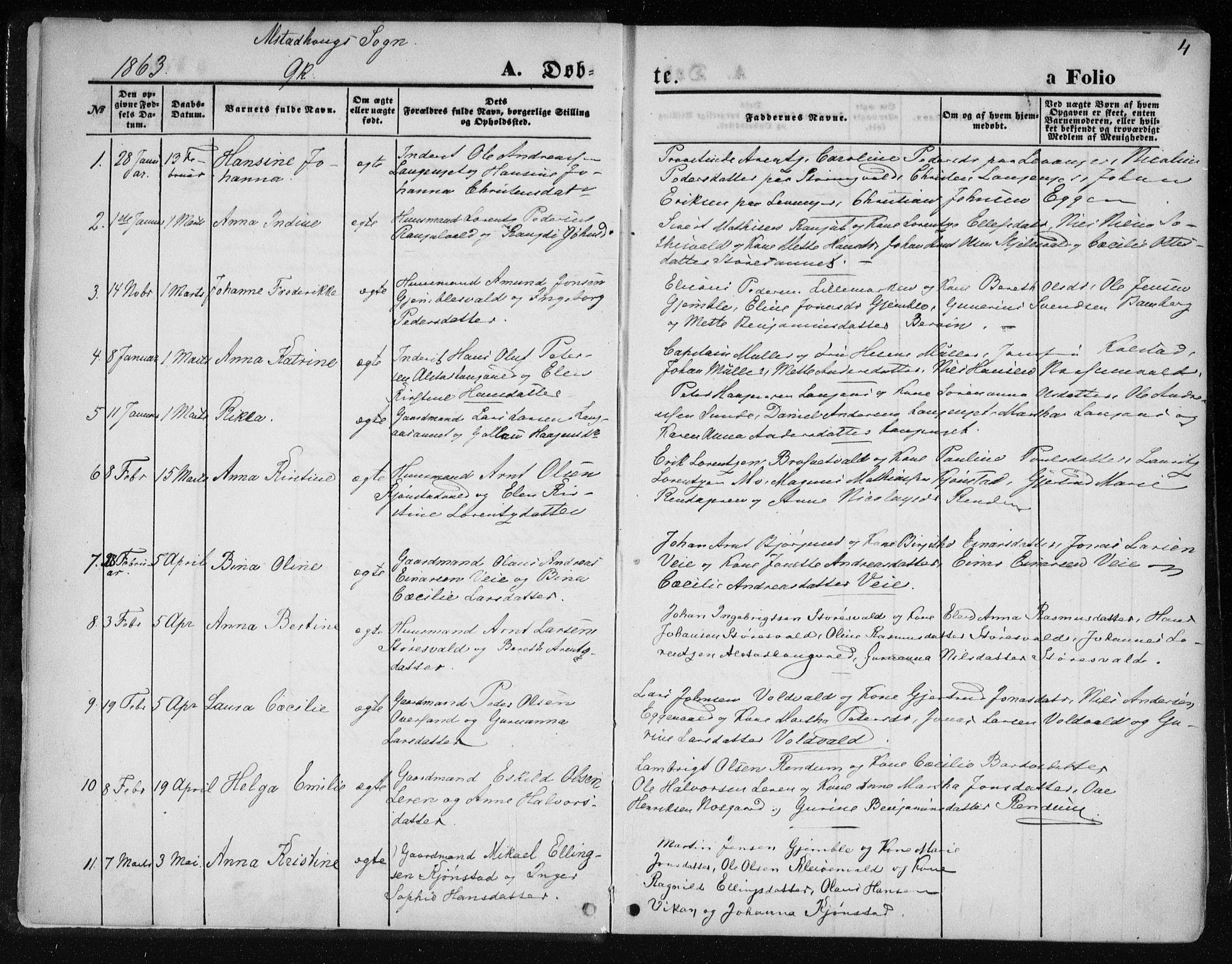 SAT, Ministerialprotokoller, klokkerbøker og fødselsregistre - Nord-Trøndelag, 717/L0157: Ministerialbok nr. 717A08 /1, 1863-1877, s. 4