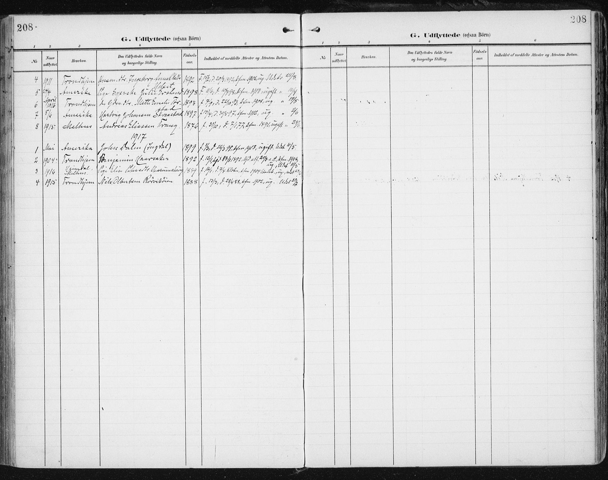 SAT, Ministerialprotokoller, klokkerbøker og fødselsregistre - Sør-Trøndelag, 646/L0616: Ministerialbok nr. 646A14, 1900-1918, s. 208