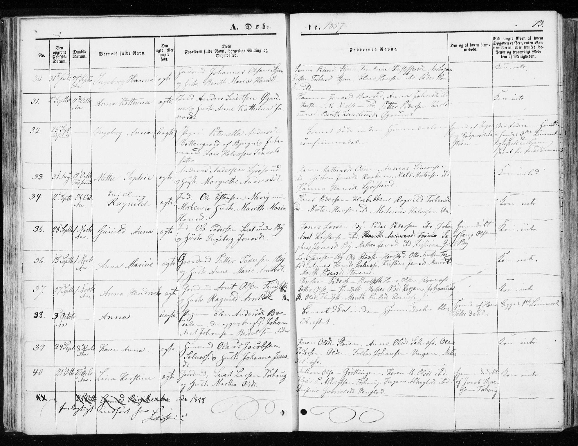 SAT, Ministerialprotokoller, klokkerbøker og fødselsregistre - Sør-Trøndelag, 655/L0677: Ministerialbok nr. 655A06, 1847-1860, s. 73