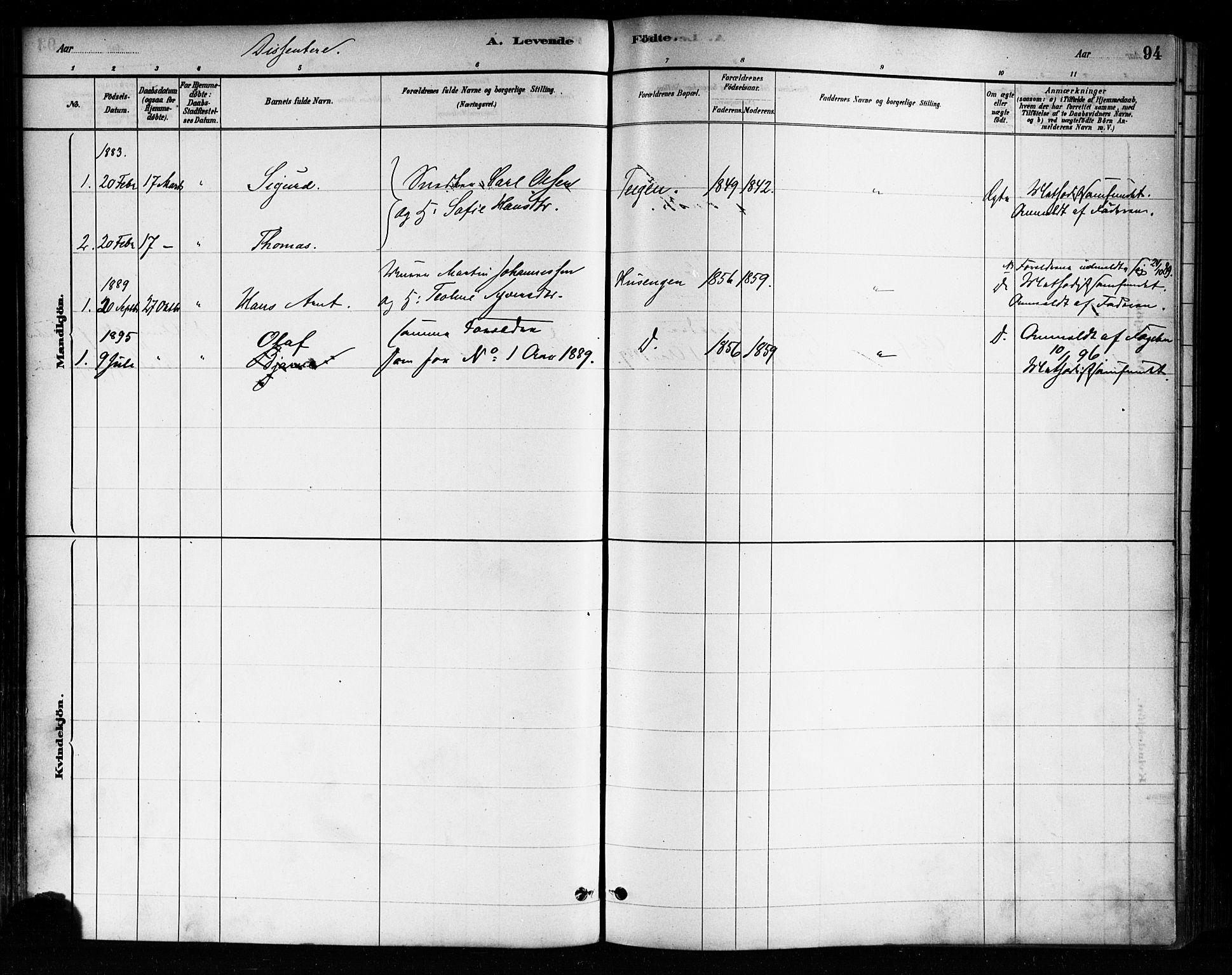 SAO, Askim prestekontor Kirkebøker, F/Fa/L0007: Ministerialbok nr. 7, 1882-1897, s. 94