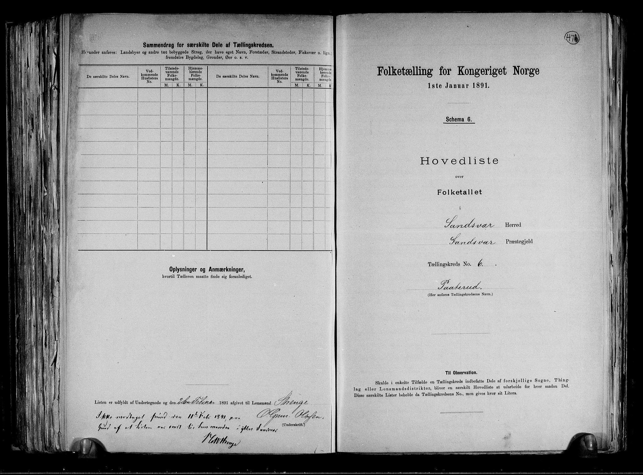 RA, Folketelling 1891 for 0629 Sandsvær herred, 1891, s. 19