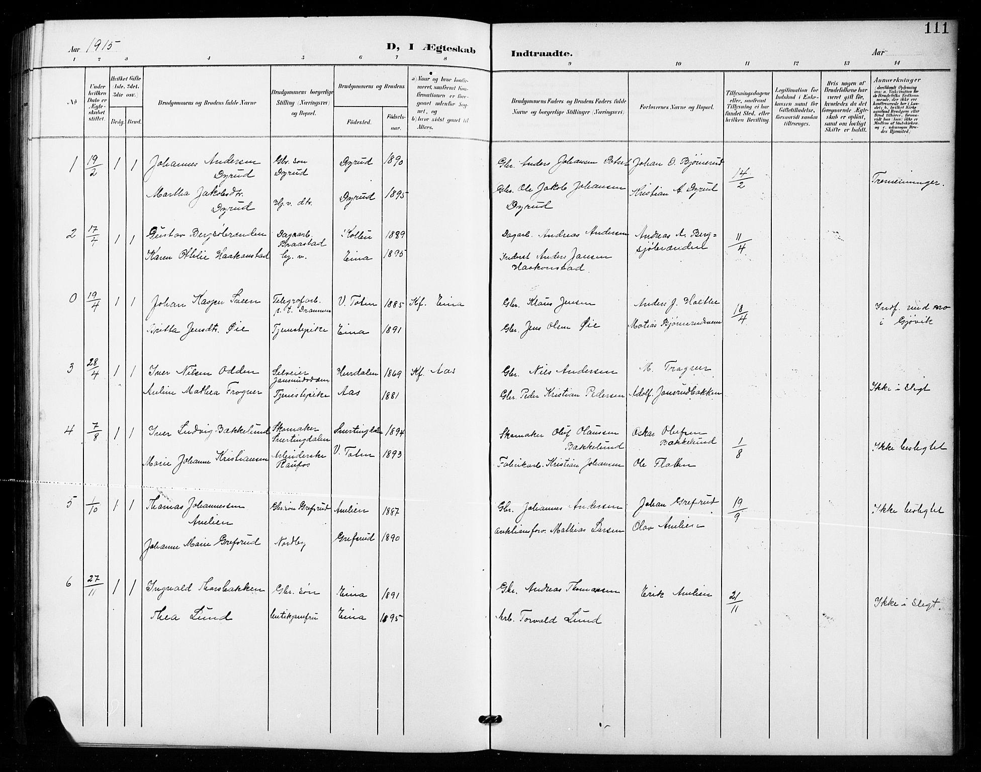SAH, Vestre Toten prestekontor, Klokkerbok nr. 16, 1901-1915, s. 111