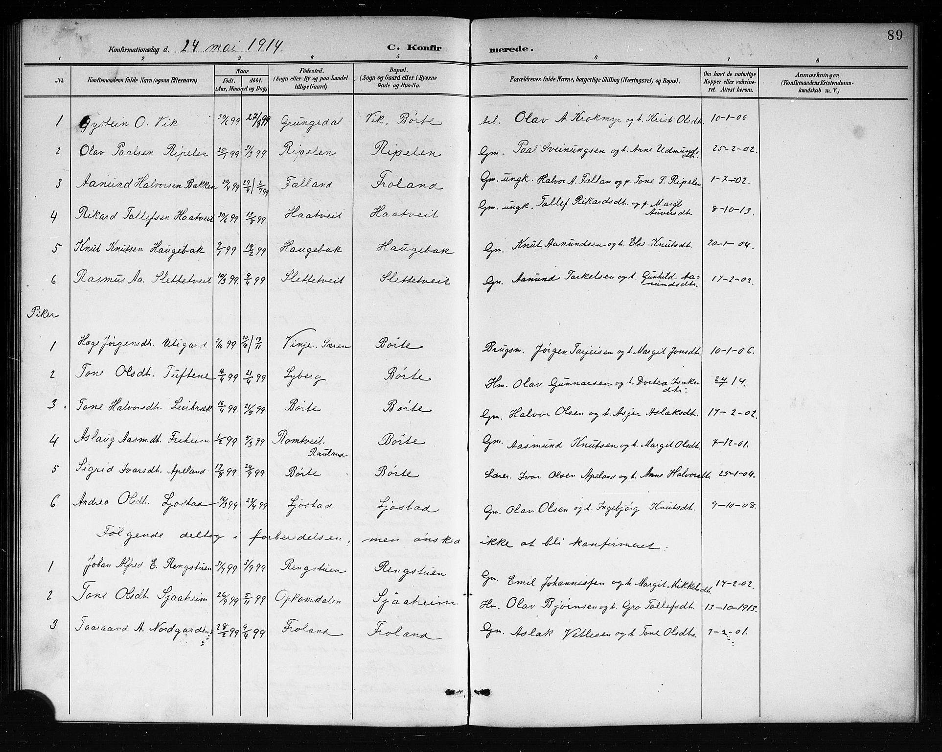 SAKO, Mo kirkebøker, G/Ga/L0002: Klokkerbok nr. I 2, 1892-1914, s. 89