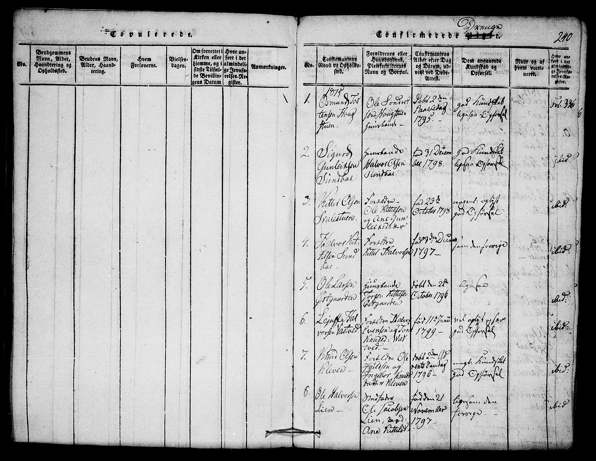 SAKO, Seljord kirkebøker, F/Fb/L0001: Ministerialbok nr. II 1, 1815-1831, s. 240