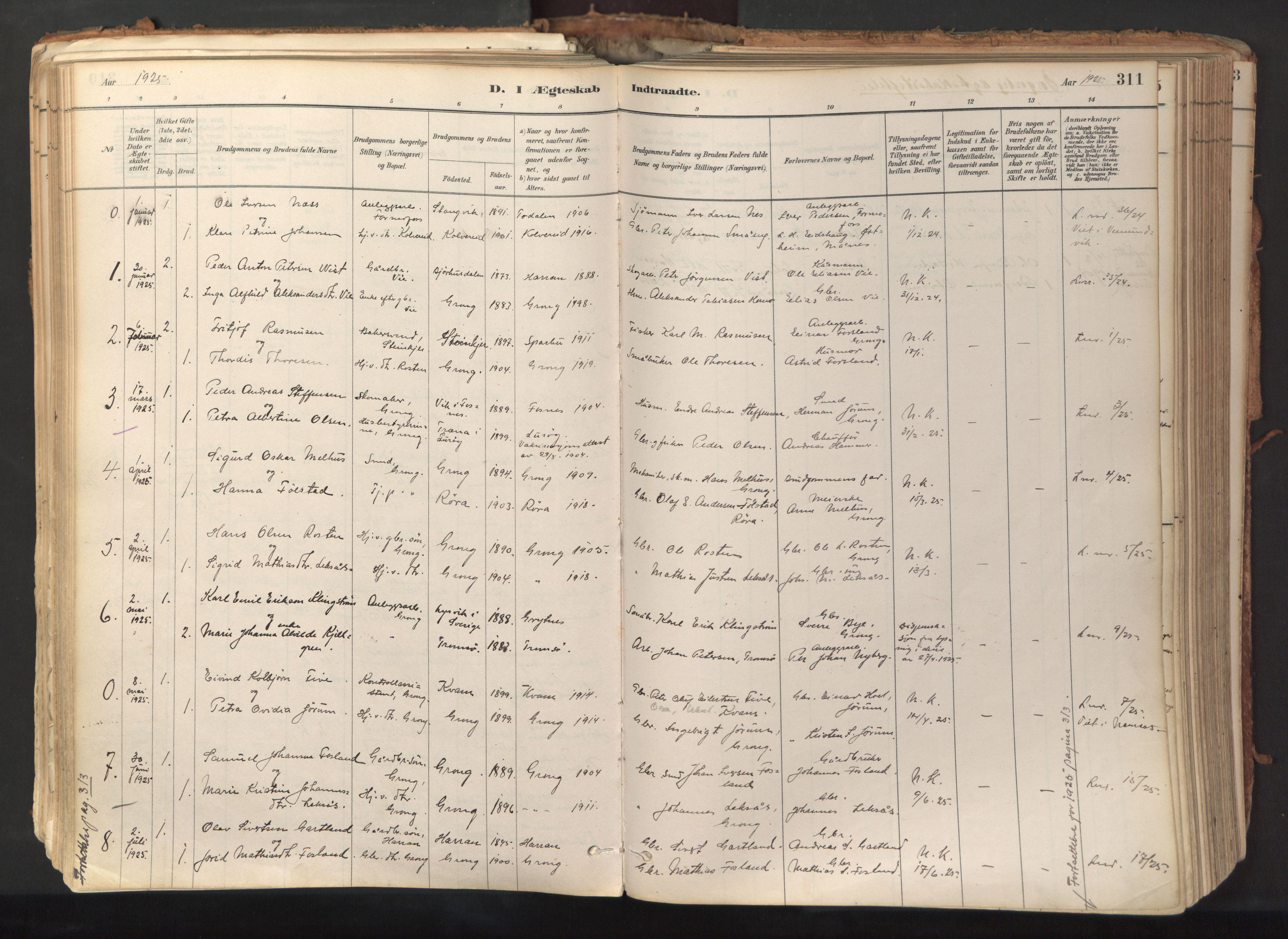 SAT, Ministerialprotokoller, klokkerbøker og fødselsregistre - Nord-Trøndelag, 758/L0519: Ministerialbok nr. 758A04, 1880-1926, s. 311