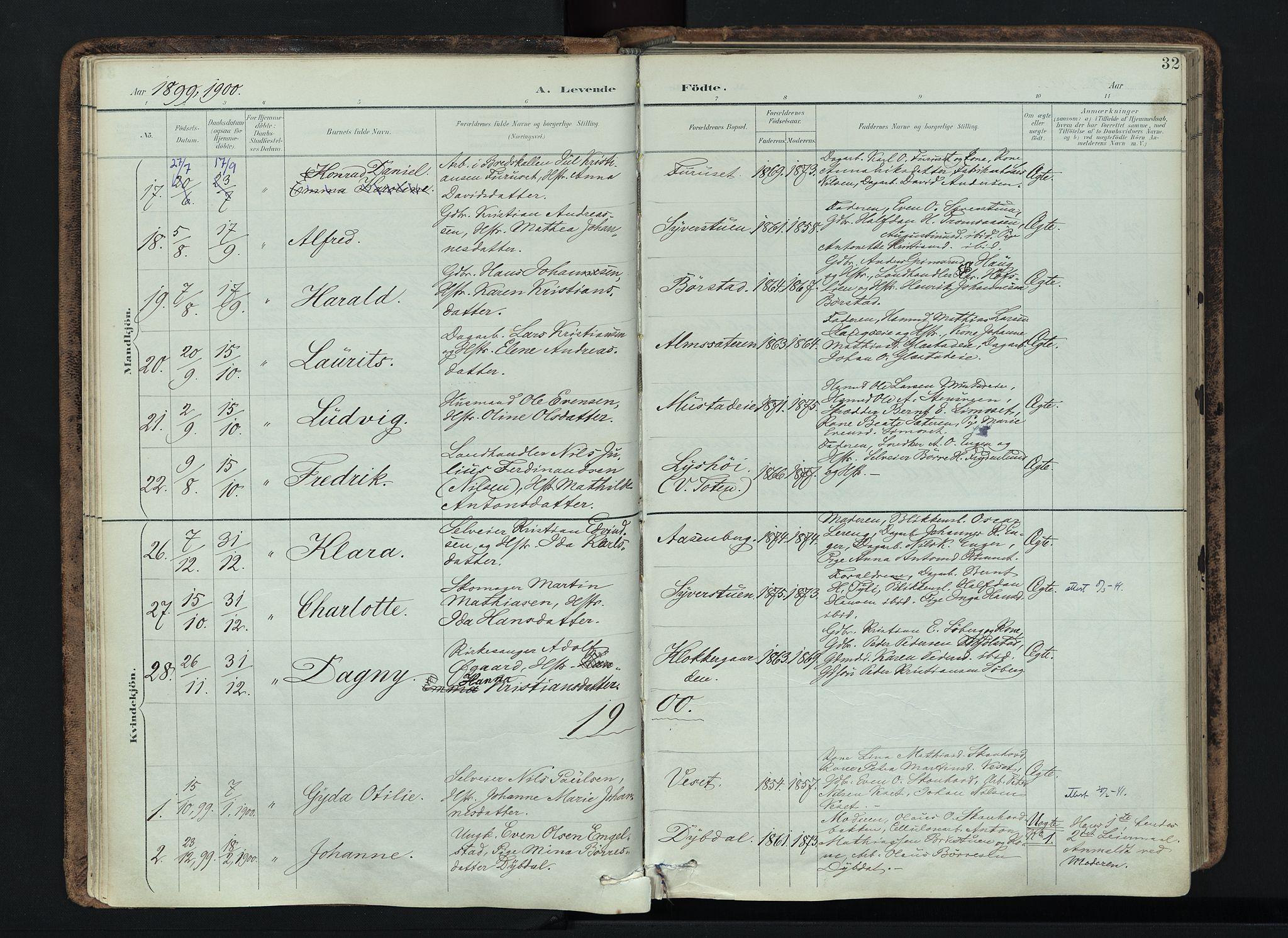 SAH, Vardal prestekontor, H/Ha/Haa/L0019: Ministerialbok nr. 19, 1893-1907, s. 32