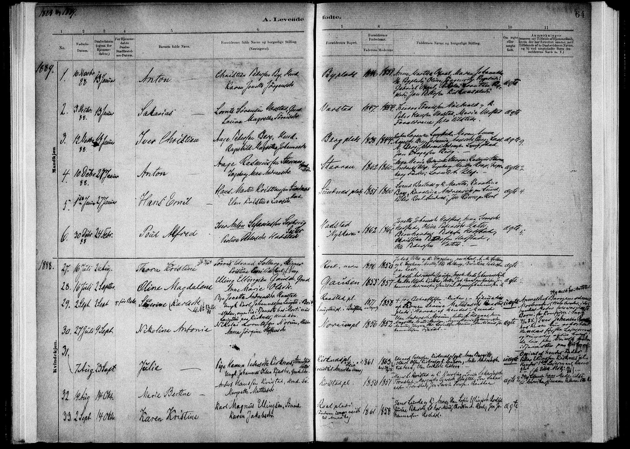 SAT, Ministerialprotokoller, klokkerbøker og fødselsregistre - Nord-Trøndelag, 730/L0285: Ministerialbok nr. 730A10, 1879-1914, s. 64