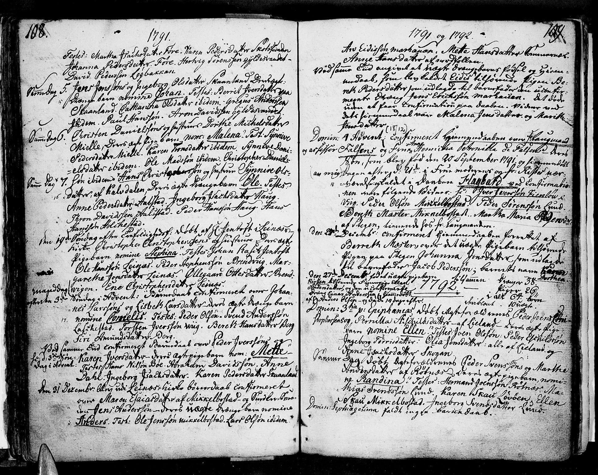 SAT, Ministerialprotokoller, klokkerbøker og fødselsregistre - Nordland, 855/L0796: Ministerialbok nr. 855A04, 1776-1813, s. 108-109