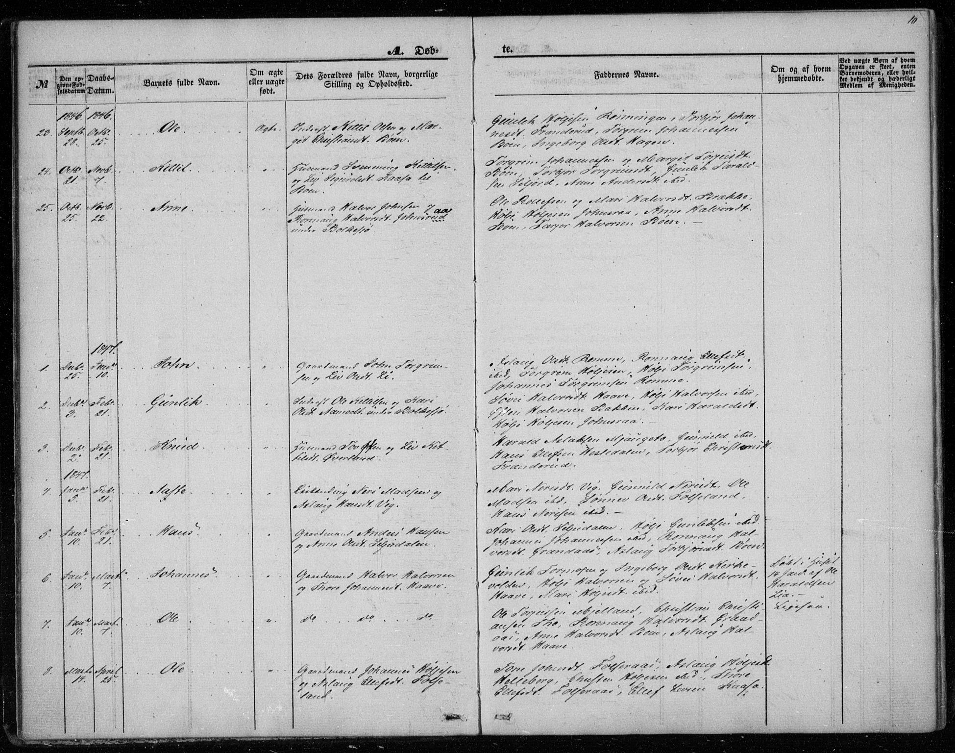 SAKO, Gransherad kirkebøker, F/Fa/L0002: Ministerialbok nr. I 2, 1844-1859, s. 10