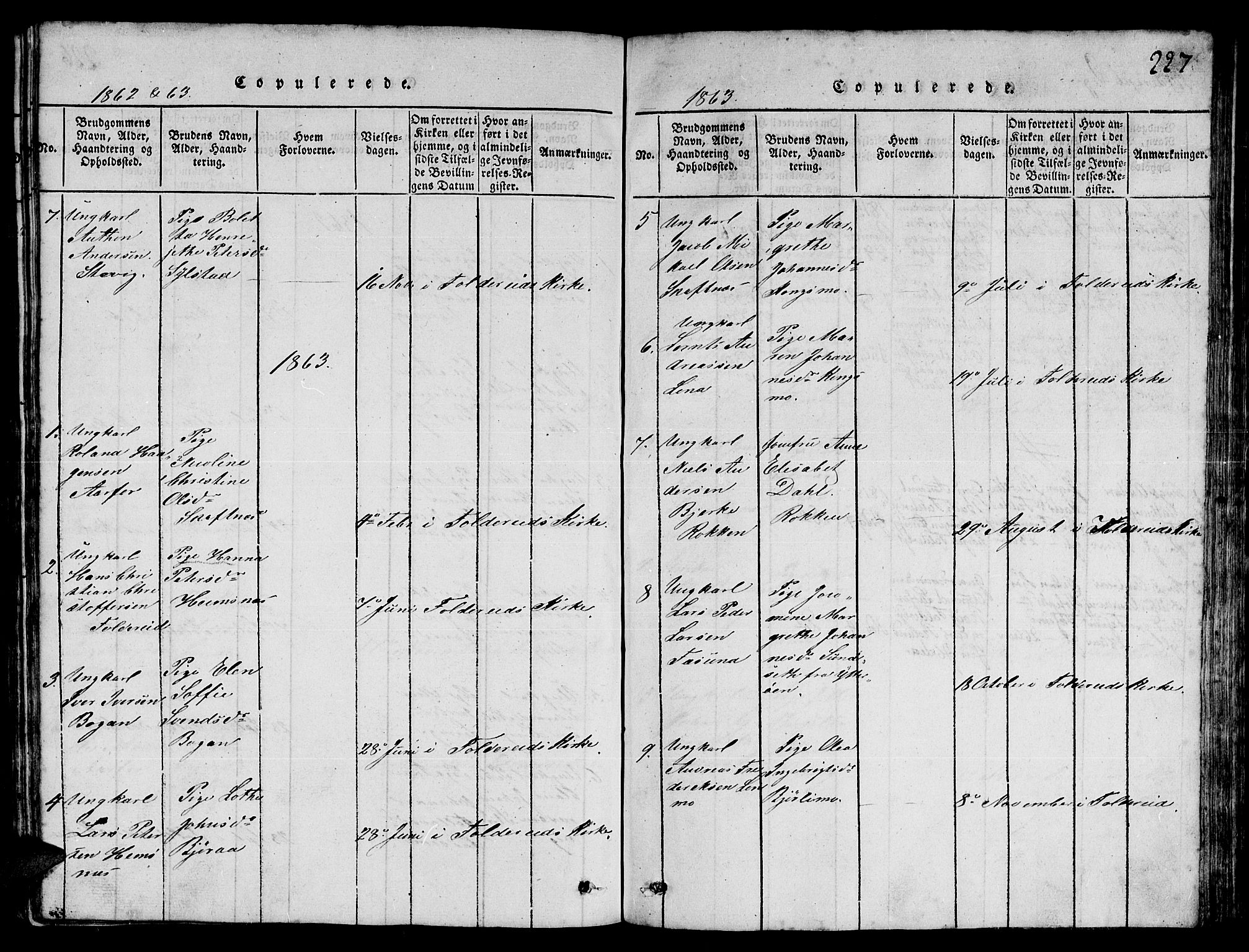 SAT, Ministerialprotokoller, klokkerbøker og fødselsregistre - Nord-Trøndelag, 780/L0648: Klokkerbok nr. 780C01 /3, 1815-1877, s. 227