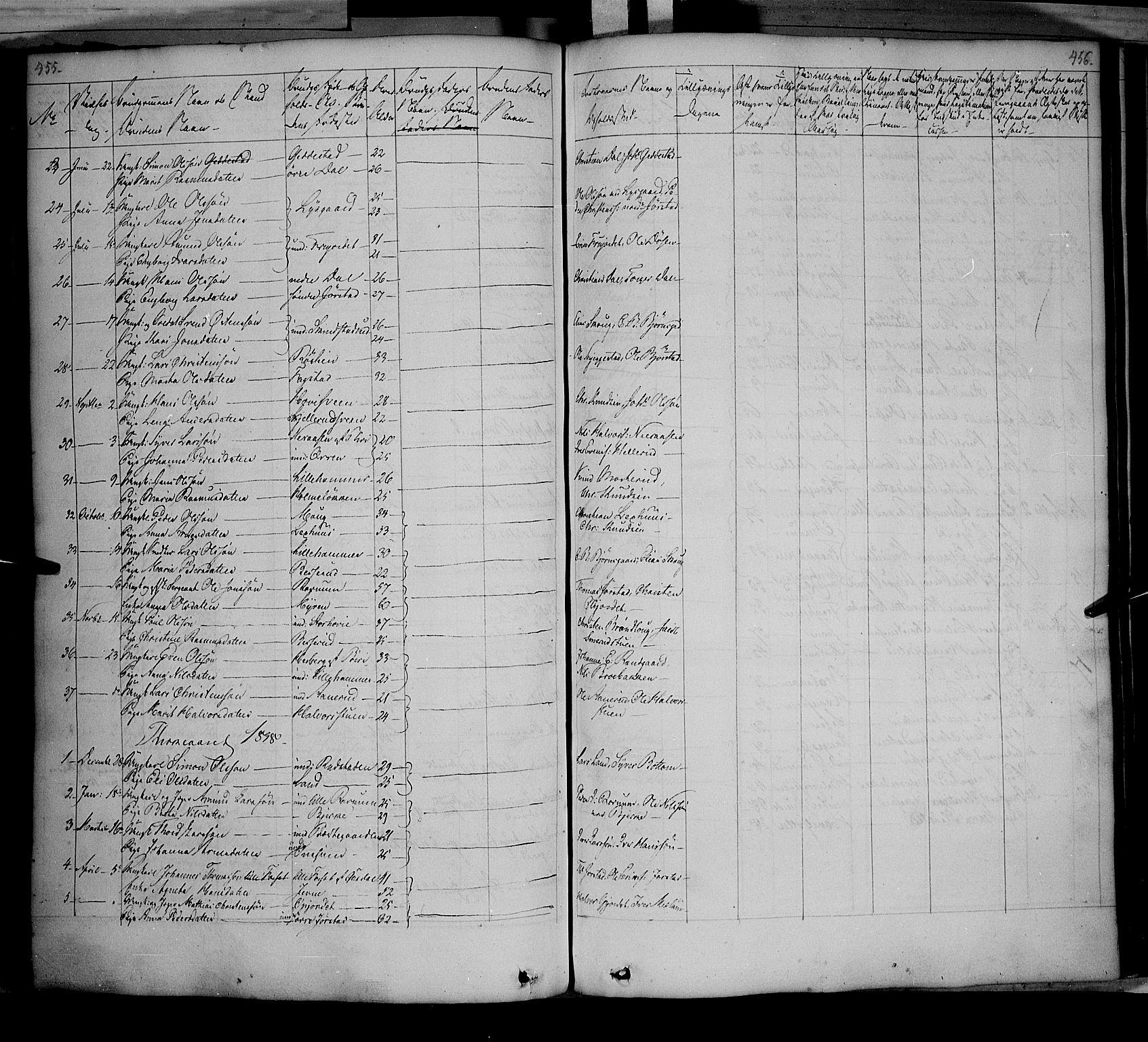 SAH, Fåberg prestekontor, Ministerialbok nr. 5, 1836-1854, s. 455-456