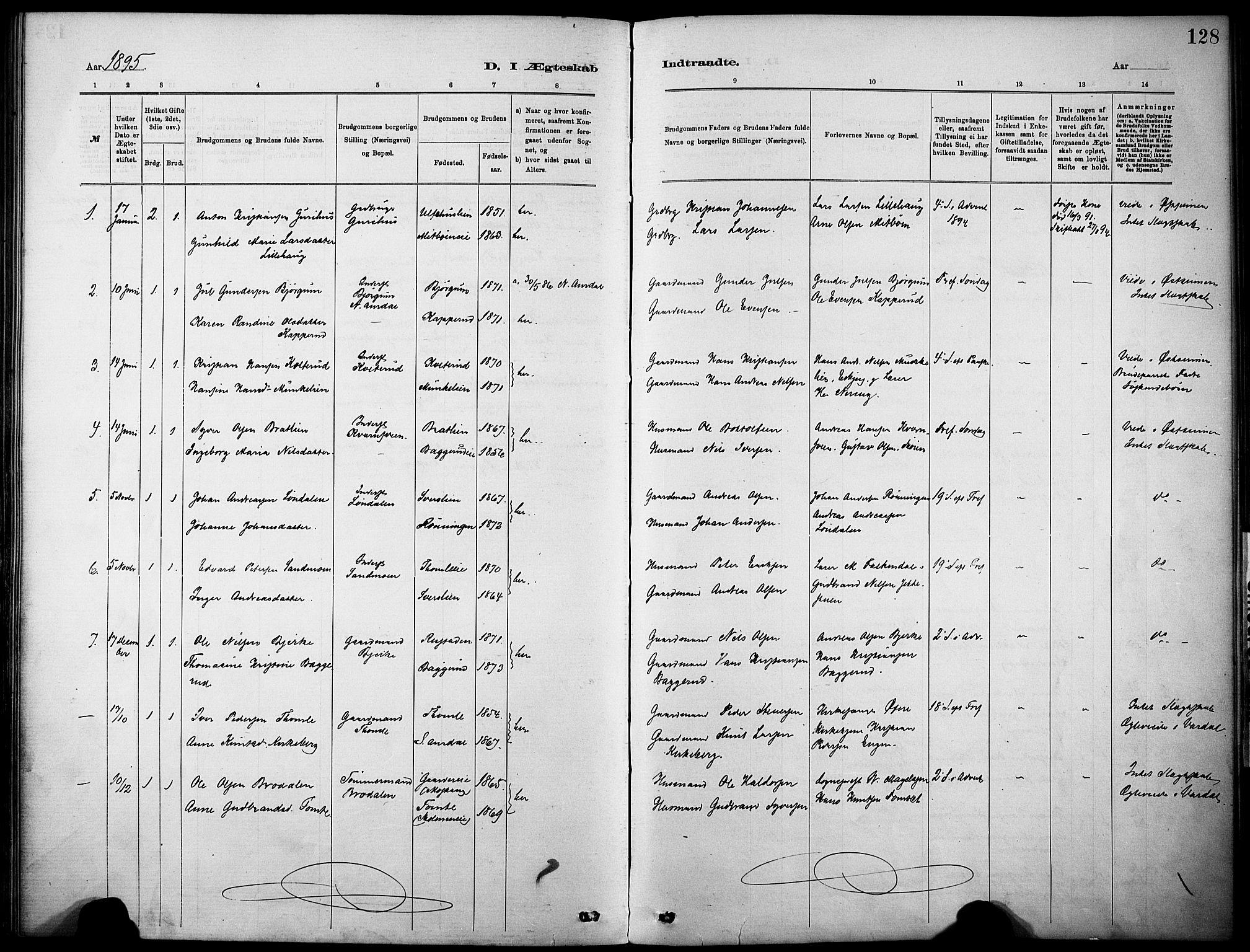 SAH, Nordre Land prestekontor, Ministerialbok nr. 5, 1882-1903, s. 128