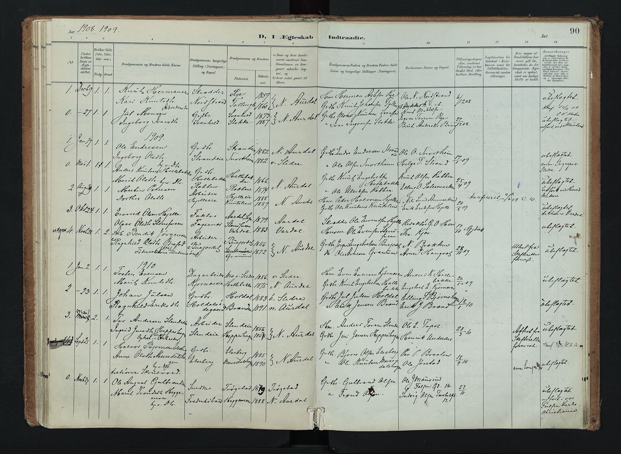 SAH, Nord-Aurdal prestekontor, Ministerialbok nr. 16, 1897-1925, s. 90