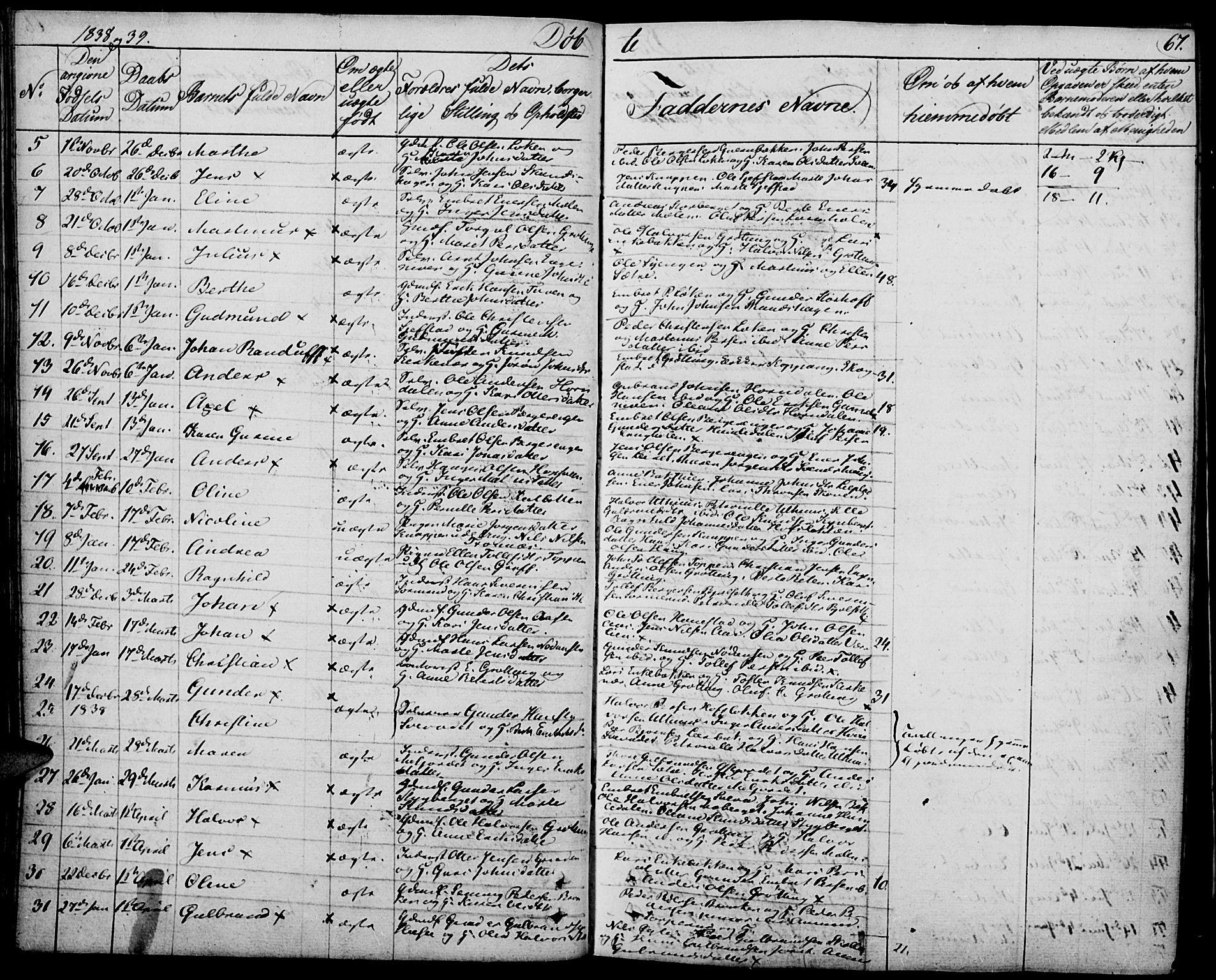 SAH, Elverum prestekontor, H/Ha/Haa/L0008: Ministerialbok nr. 8, 1830-1842, s. 67