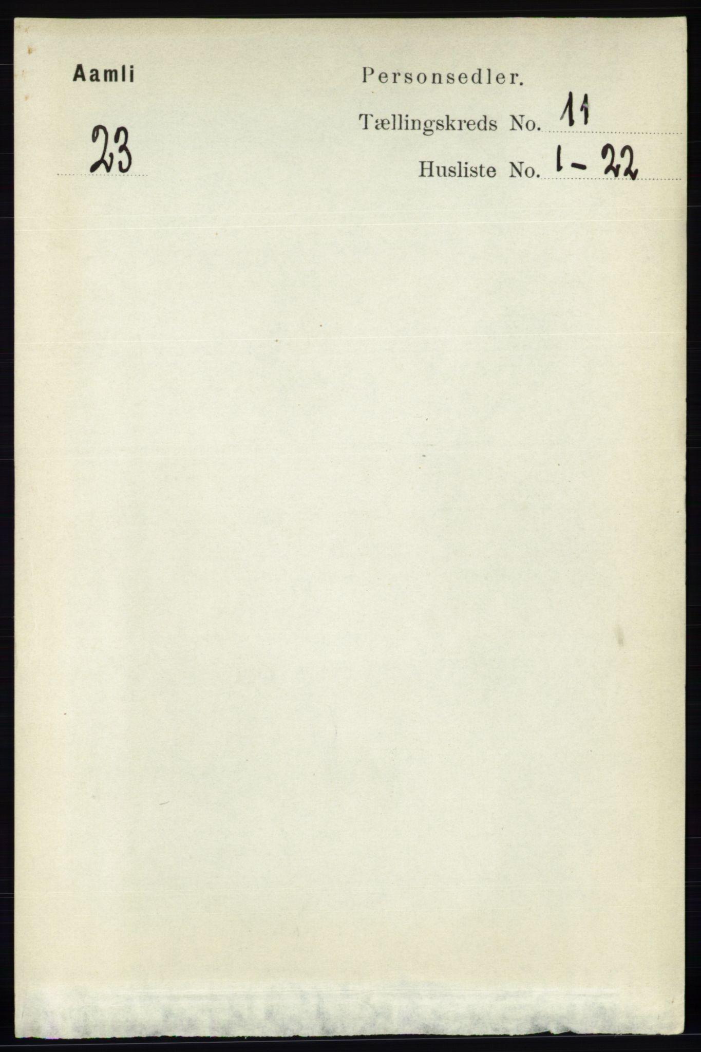 RA, Folketelling 1891 for 0929 Åmli herred, 1891, s. 1848