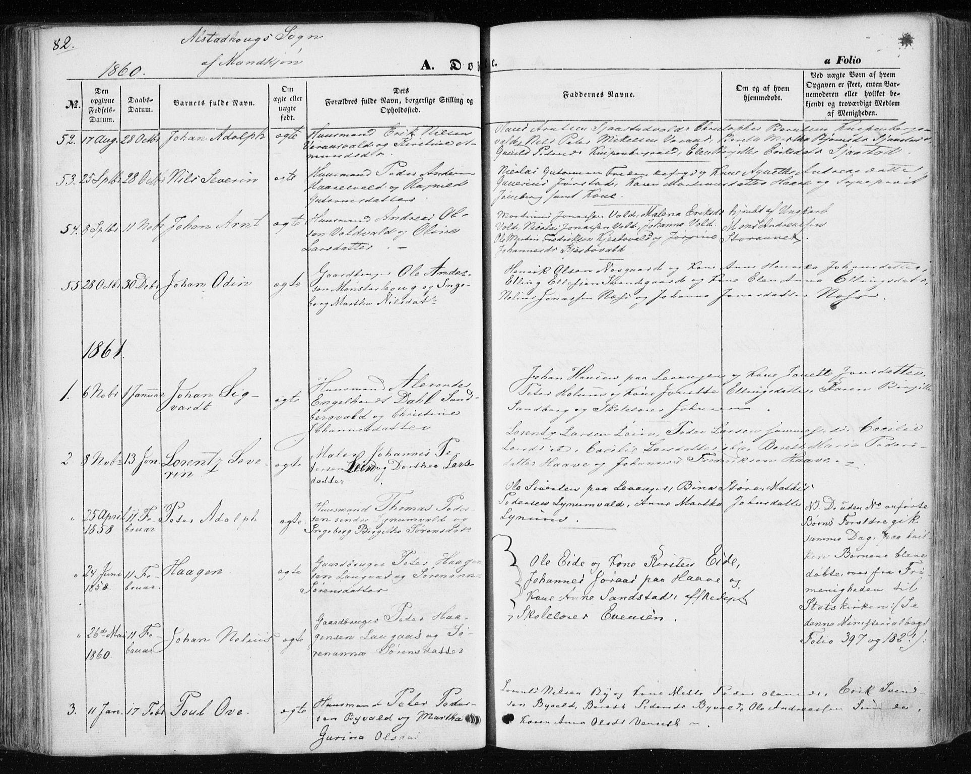 SAT, Ministerialprotokoller, klokkerbøker og fødselsregistre - Nord-Trøndelag, 717/L0154: Ministerialbok nr. 717A07 /1, 1850-1862, s. 82