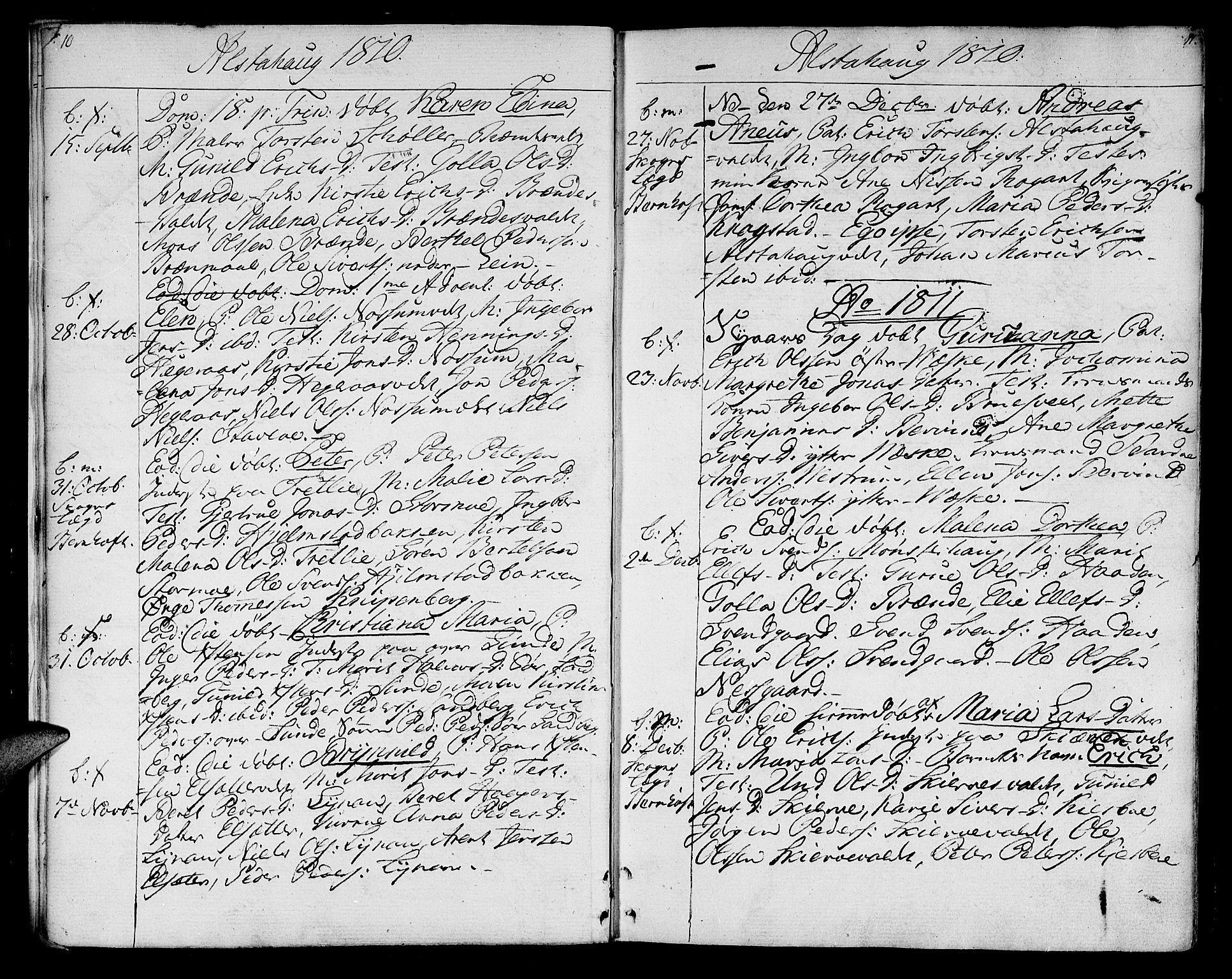 SAT, Ministerialprotokoller, klokkerbøker og fødselsregistre - Nord-Trøndelag, 717/L0145: Ministerialbok nr. 717A03 /1, 1810-1815, s. 10-11