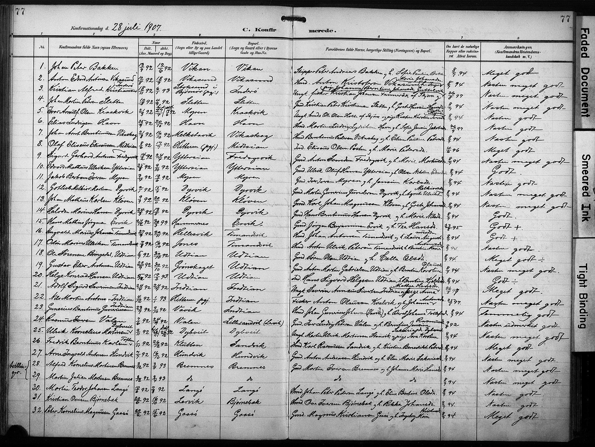 SAT, Ministerialprotokoller, klokkerbøker og fødselsregistre - Sør-Trøndelag, 640/L0580: Ministerialbok nr. 640A05, 1902-1910, s. 77