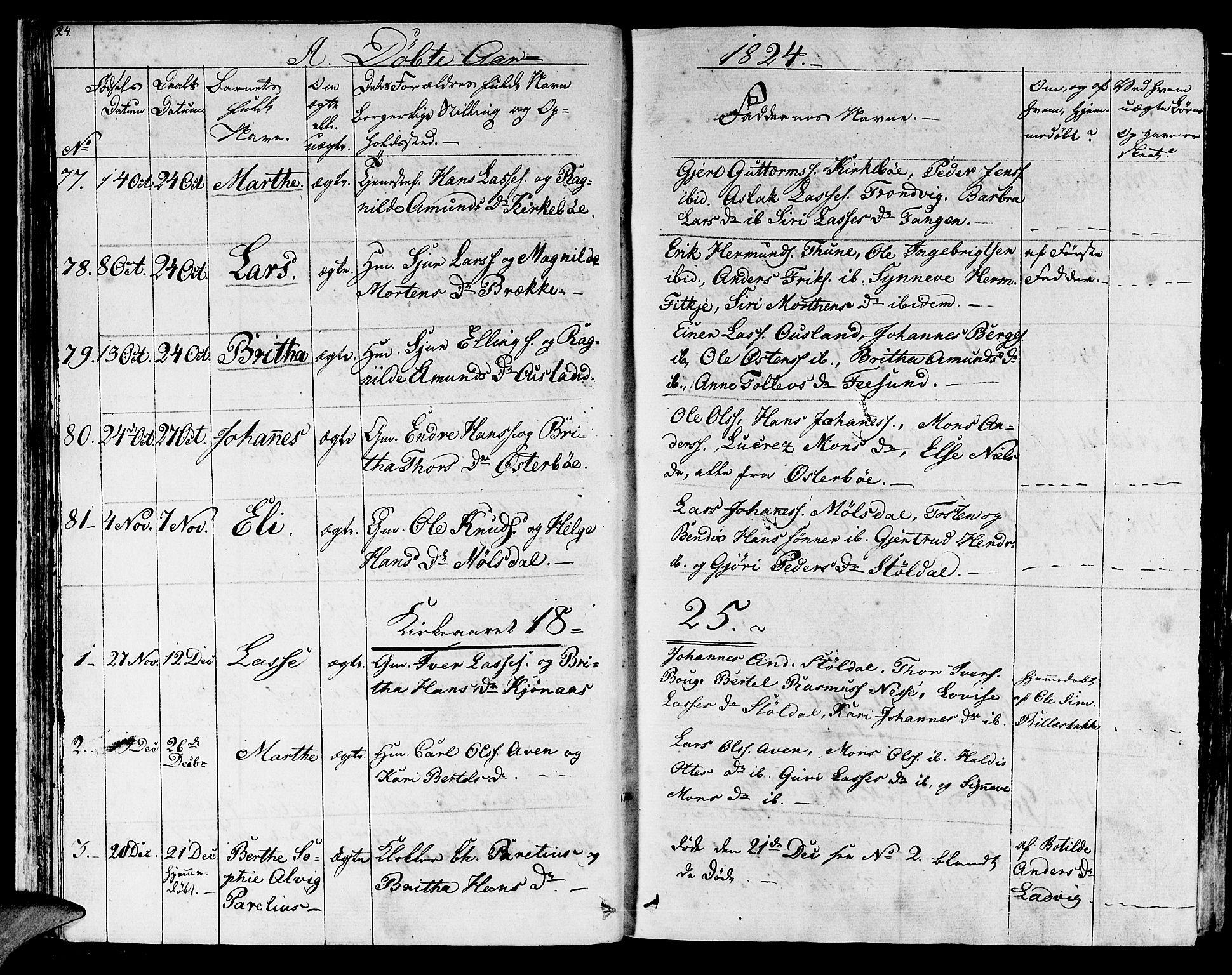 SAB, Lavik sokneprestembete, Ministerialbok nr. A 2I, 1821-1842, s. 24