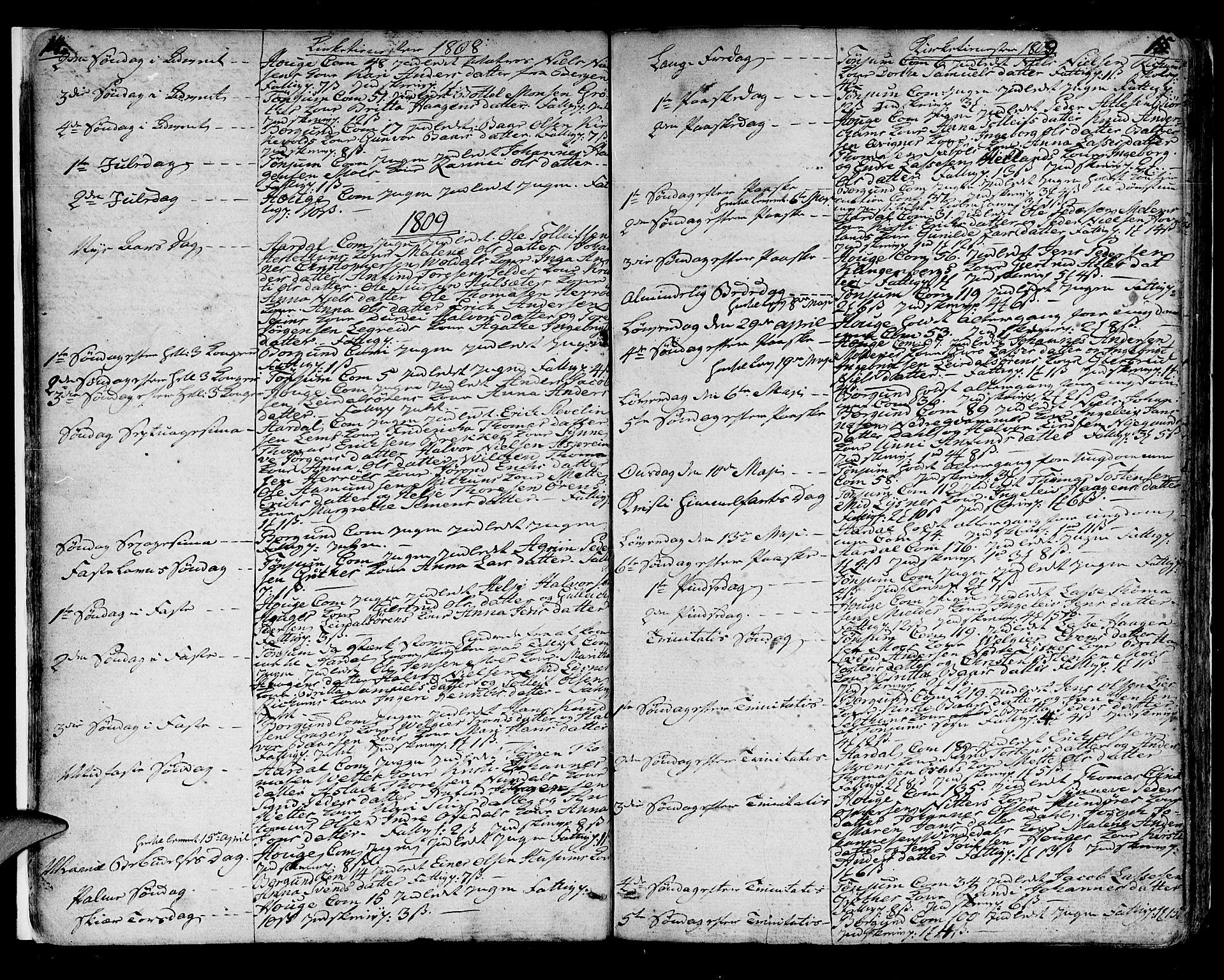 SAB, Lærdal sokneprestembete, Ministerialbok nr. A 4, 1805-1821, s. 14-15