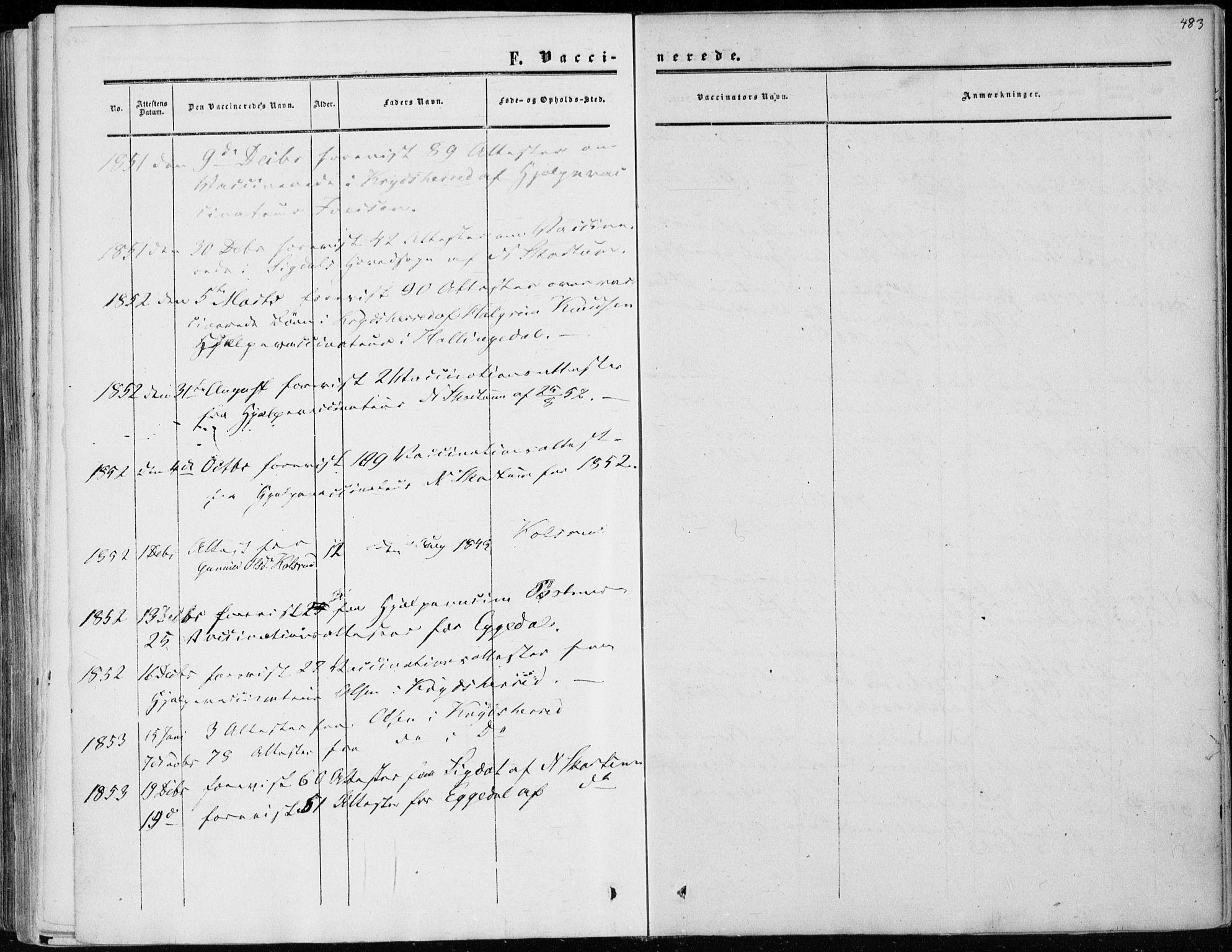 SAKO, Sigdal kirkebøker, F/Fa/L0008: Ministerialbok nr. I 8, 1850-1859, s. 483