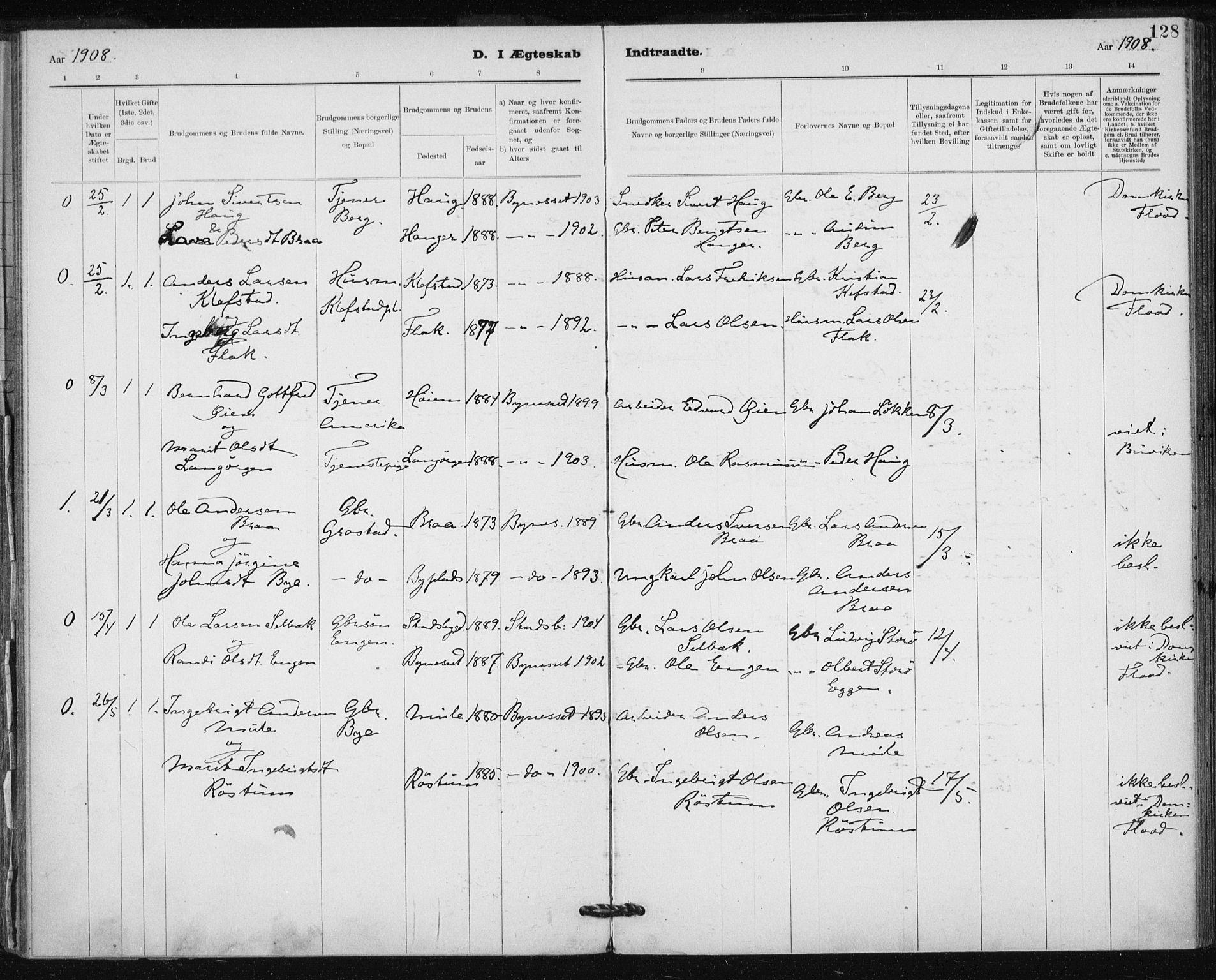SAT, Ministerialprotokoller, klokkerbøker og fødselsregistre - Sør-Trøndelag, 612/L0381: Ministerialbok nr. 612A13, 1907-1923, s. 128