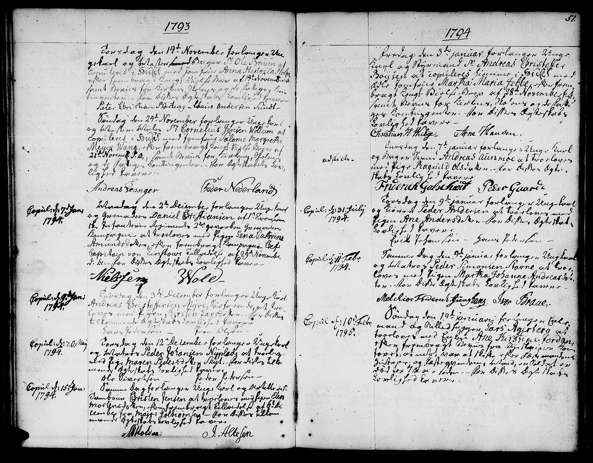 SAT, Ministerialprotokoller, klokkerbøker og fødselsregistre - Sør-Trøndelag, 601/L0041: Ministerialbok nr. 601A09, 1784-1801, s. 51