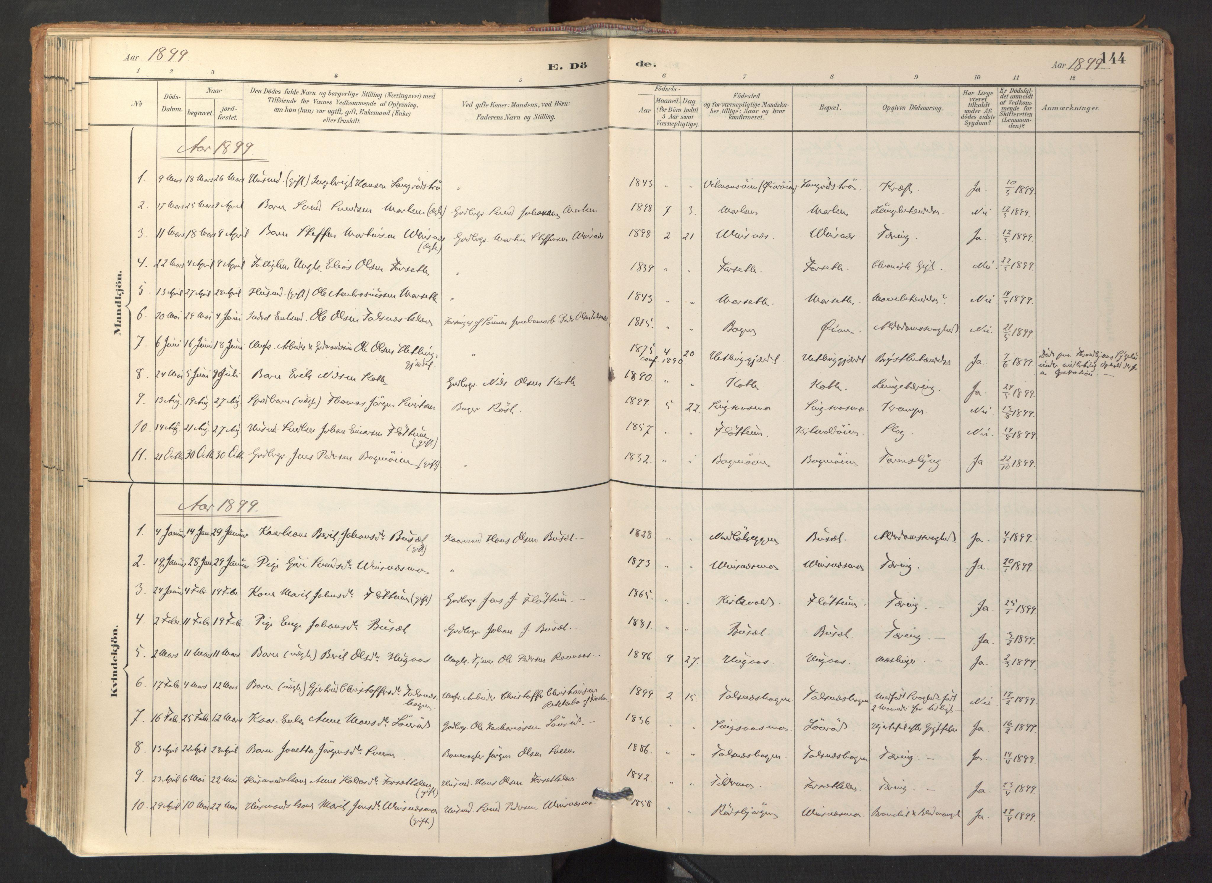 SAT, Ministerialprotokoller, klokkerbøker og fødselsregistre - Sør-Trøndelag, 688/L1025: Ministerialbok nr. 688A02, 1891-1909, s. 144